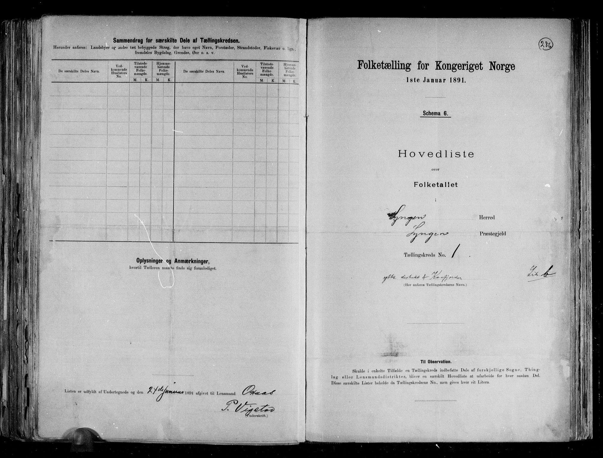 RA, Folketelling 1891 for 1938 Lyngen herred, 1891, s. 8