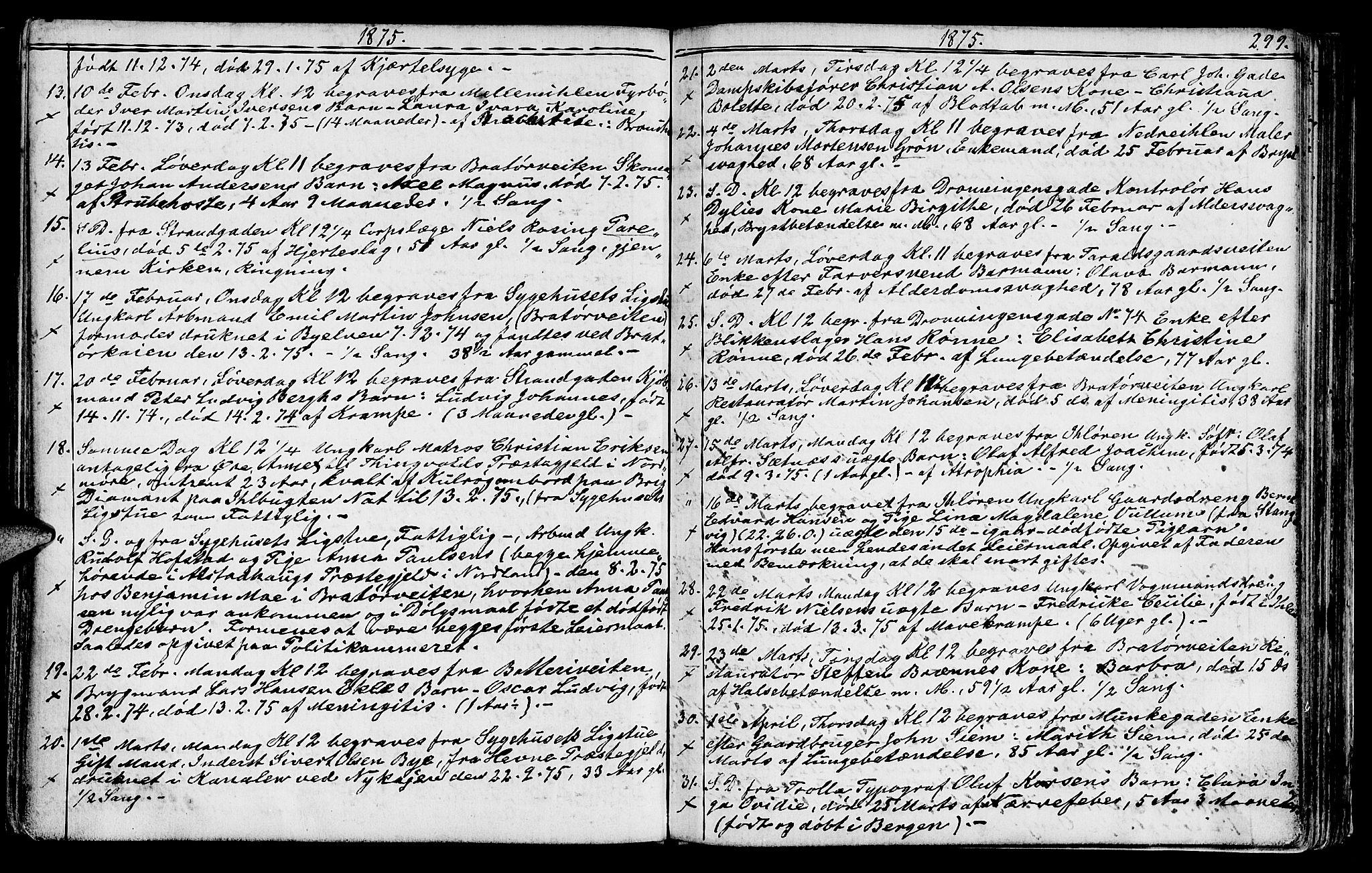 SAT, Ministerialprotokoller, klokkerbøker og fødselsregistre - Sør-Trøndelag, 602/L0142: Klokkerbok nr. 602C10, 1872-1894, s. 299
