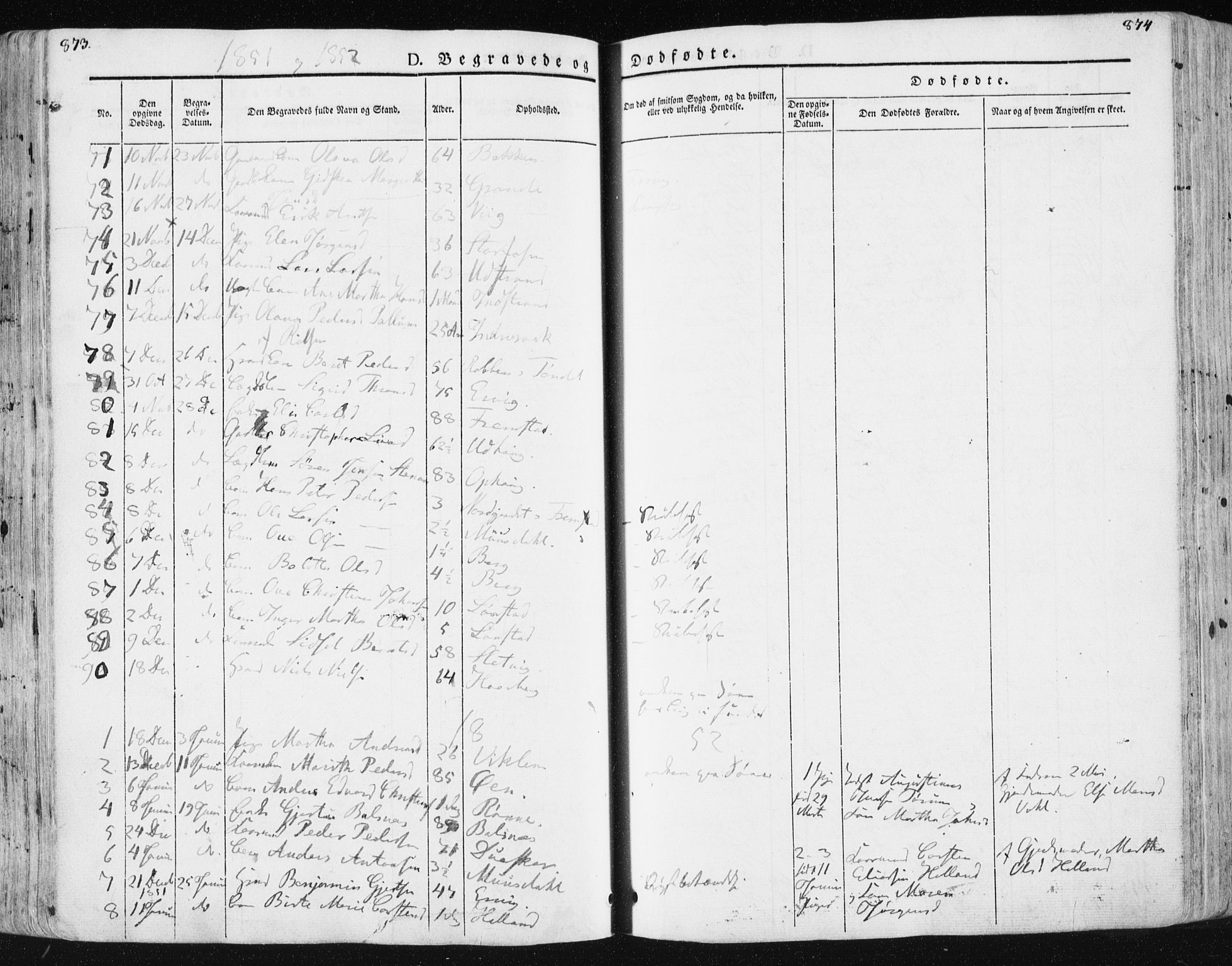 SAT, Ministerialprotokoller, klokkerbøker og fødselsregistre - Sør-Trøndelag, 659/L0736: Ministerialbok nr. 659A06, 1842-1856, s. 873-874