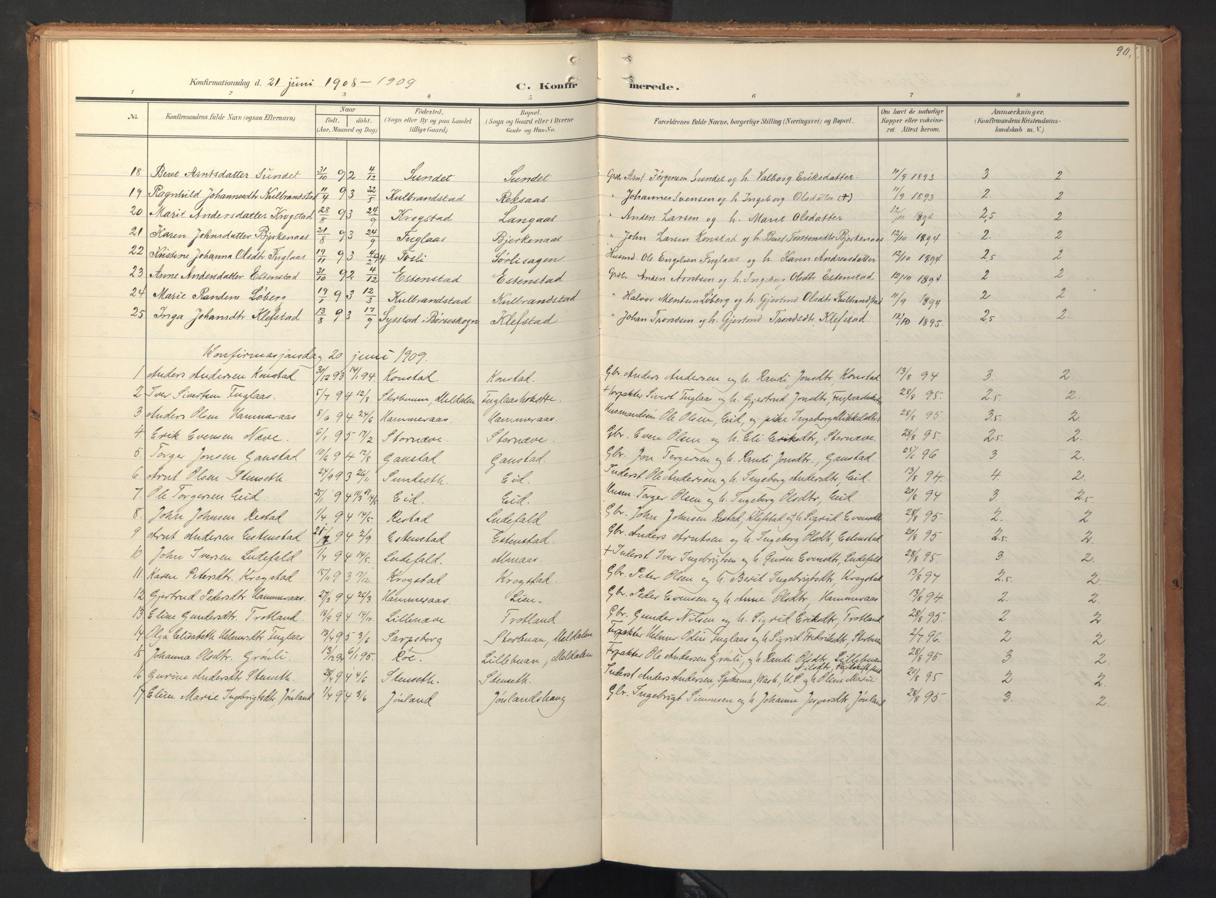 SAT, Ministerialprotokoller, klokkerbøker og fødselsregistre - Sør-Trøndelag, 694/L1128: Ministerialbok nr. 694A02, 1906-1931, s. 90