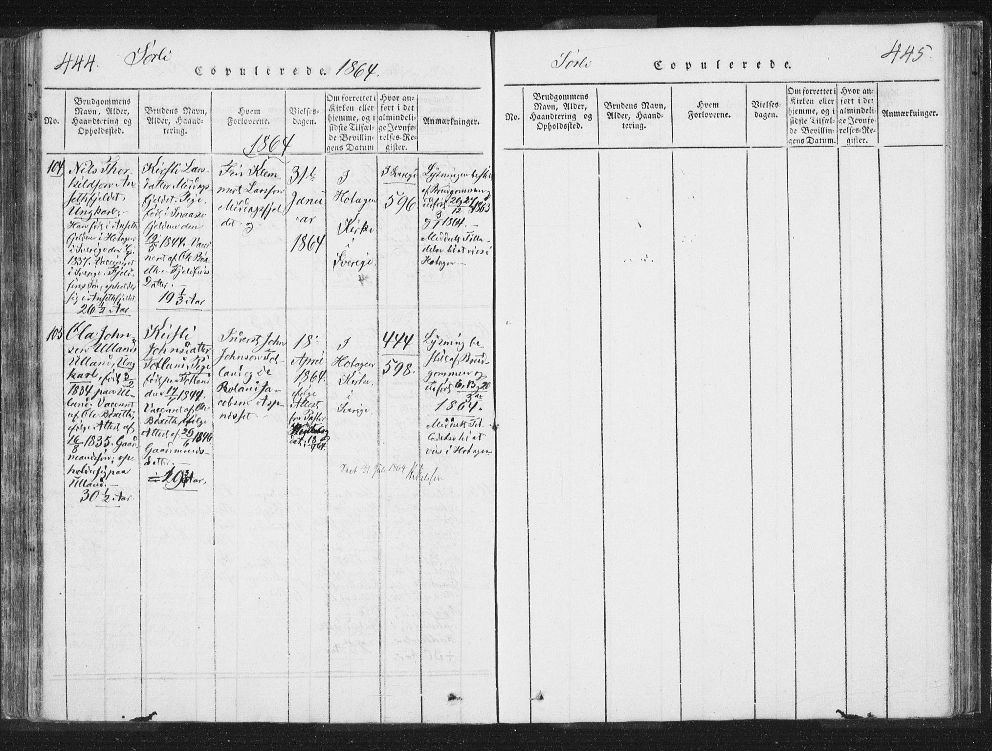 SAT, Ministerialprotokoller, klokkerbøker og fødselsregistre - Nord-Trøndelag, 755/L0491: Ministerialbok nr. 755A01 /2, 1817-1864, s. 444-445