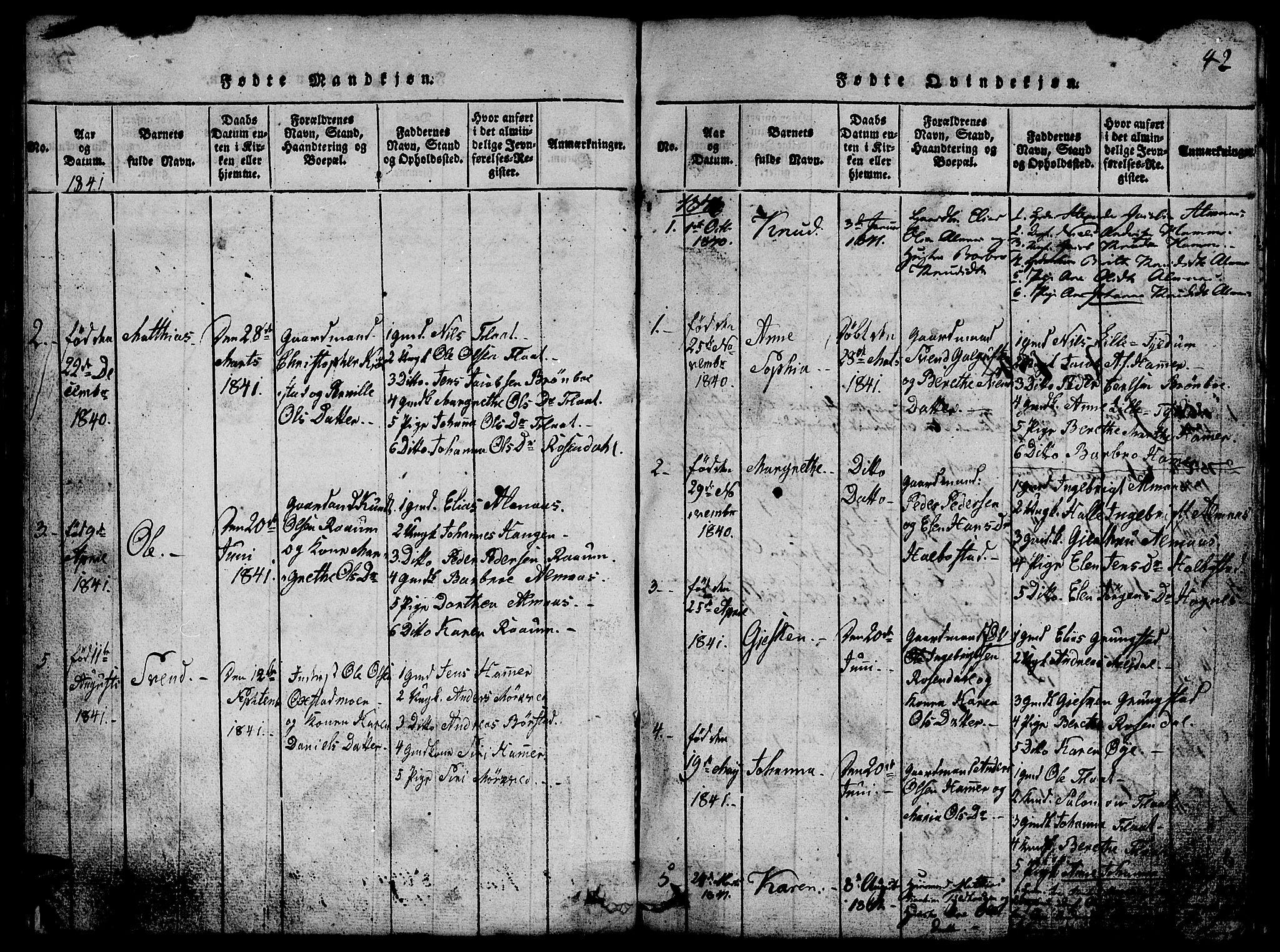 SAT, Ministerialprotokoller, klokkerbøker og fødselsregistre - Nord-Trøndelag, 765/L0562: Klokkerbok nr. 765C01, 1817-1851, s. 42