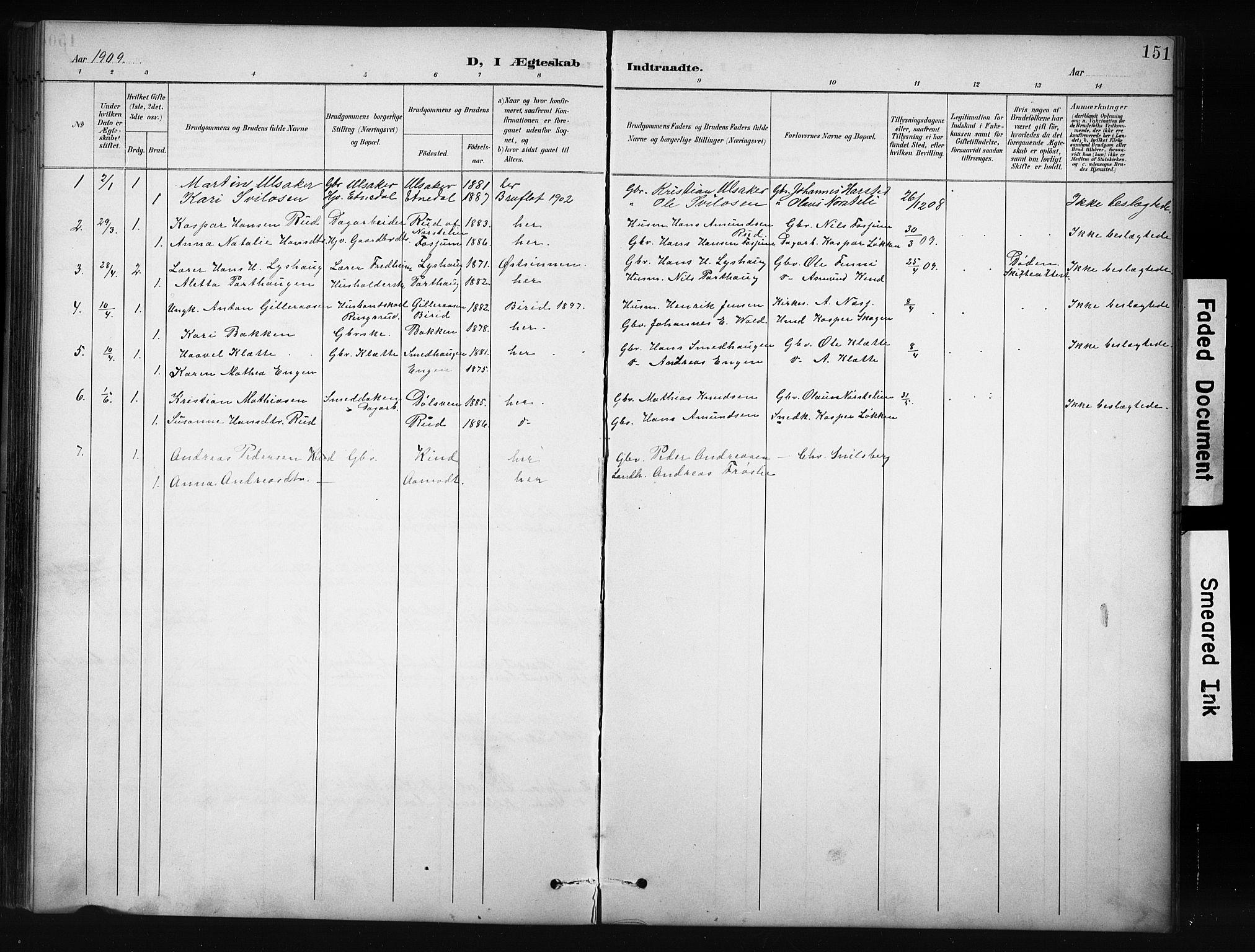 SAH, Nordre Land prestekontor, Klokkerbok nr. 12, 1891-1909, s. 151