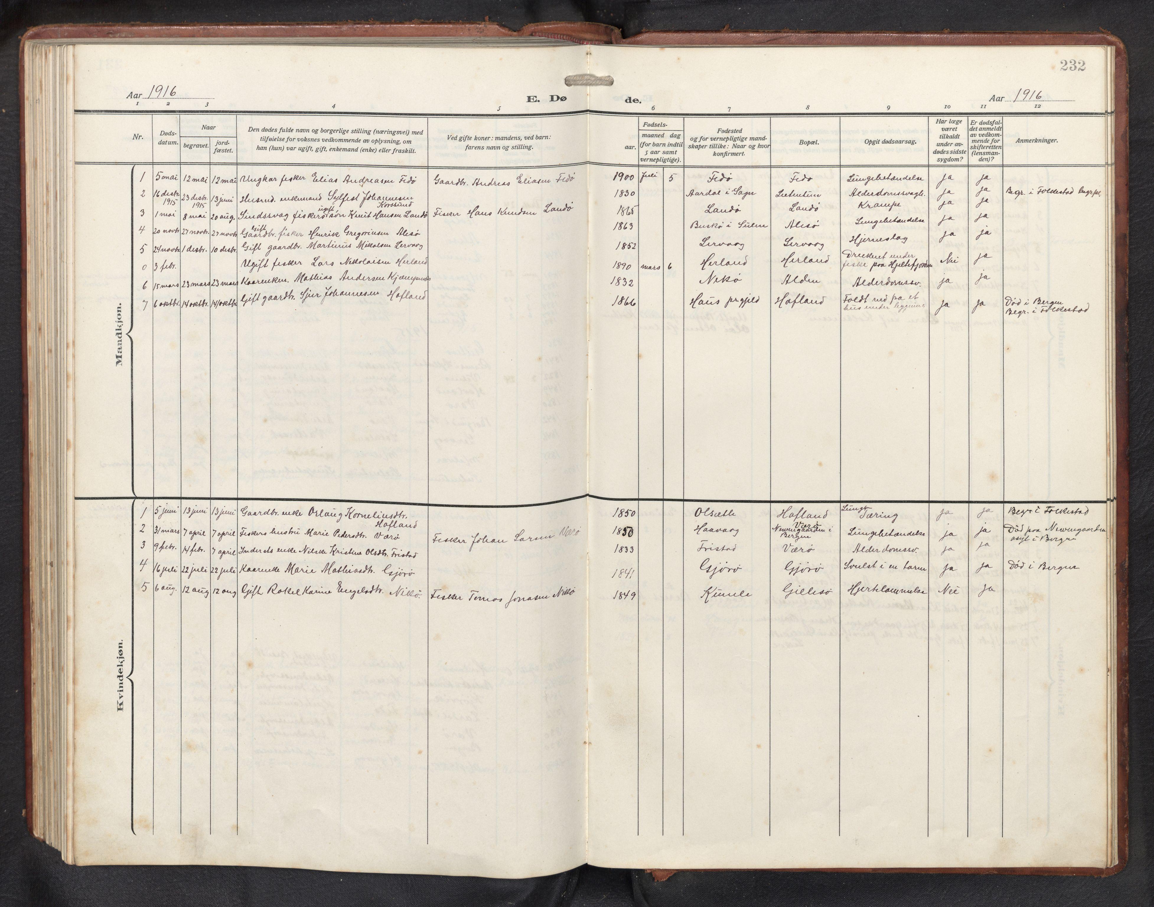SAB, Askvoll sokneprestembete, H/Hab/Habb/L0002: Klokkerbok nr. B 2, 1910-1947, s. 231b-232a