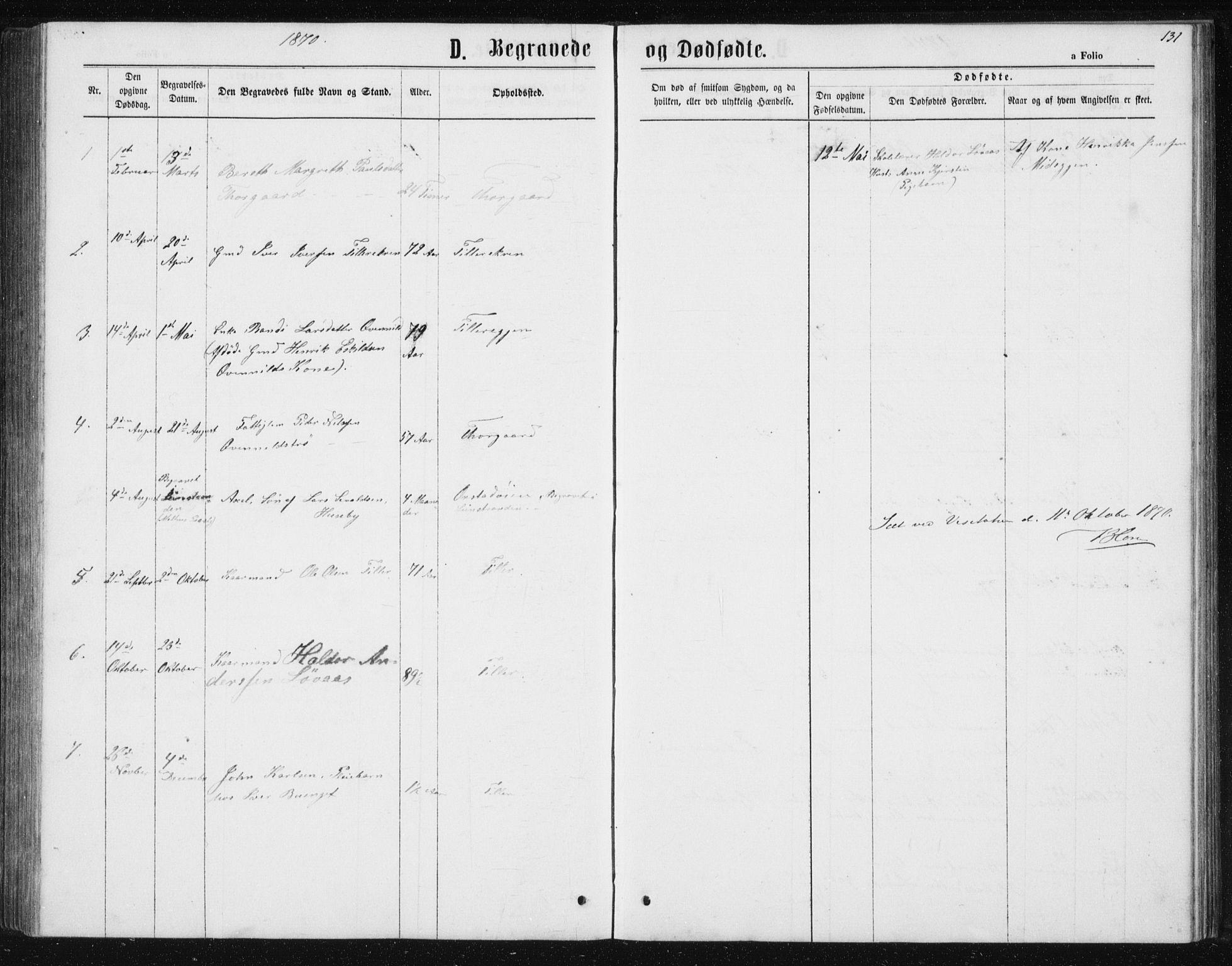 SAT, Ministerialprotokoller, klokkerbøker og fødselsregistre - Sør-Trøndelag, 621/L0459: Klokkerbok nr. 621C02, 1866-1895, s. 131