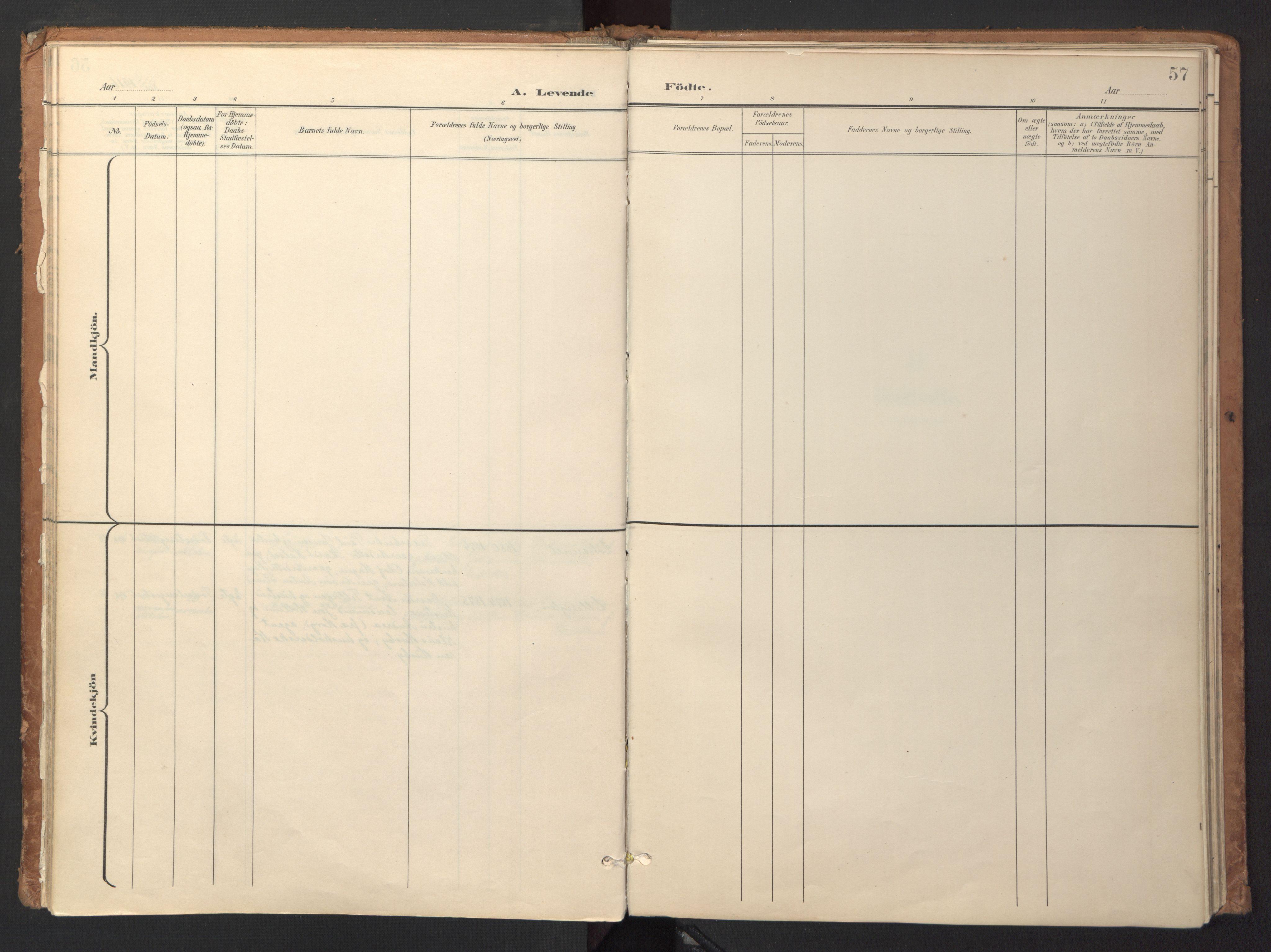 SAT, Ministerialprotokoller, klokkerbøker og fødselsregistre - Sør-Trøndelag, 618/L0448: Ministerialbok nr. 618A11, 1898-1916, s. 57