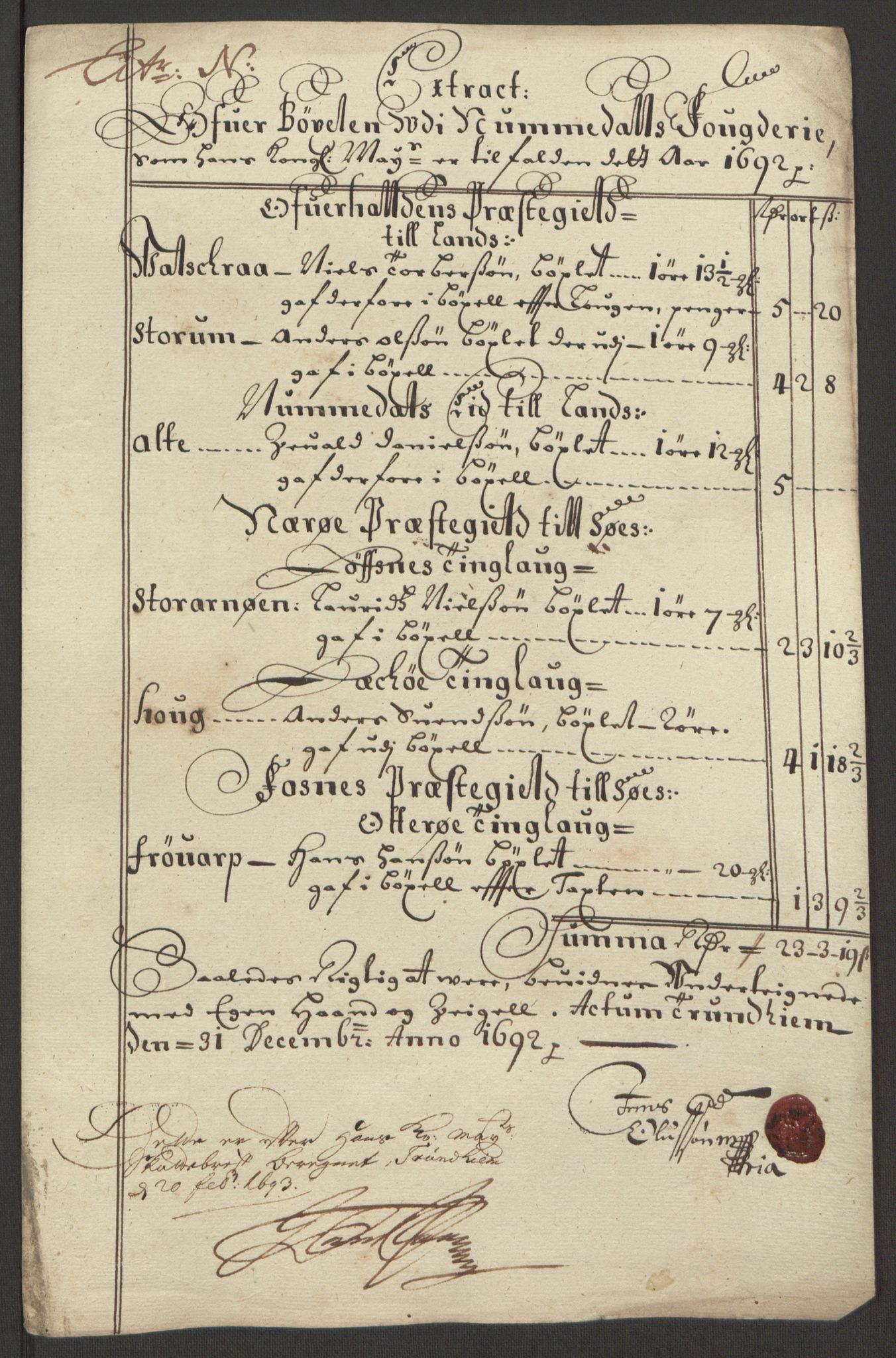 RA, Rentekammeret inntil 1814, Reviderte regnskaper, Fogderegnskap, R64/L4424: Fogderegnskap Namdal, 1692-1695, s. 93