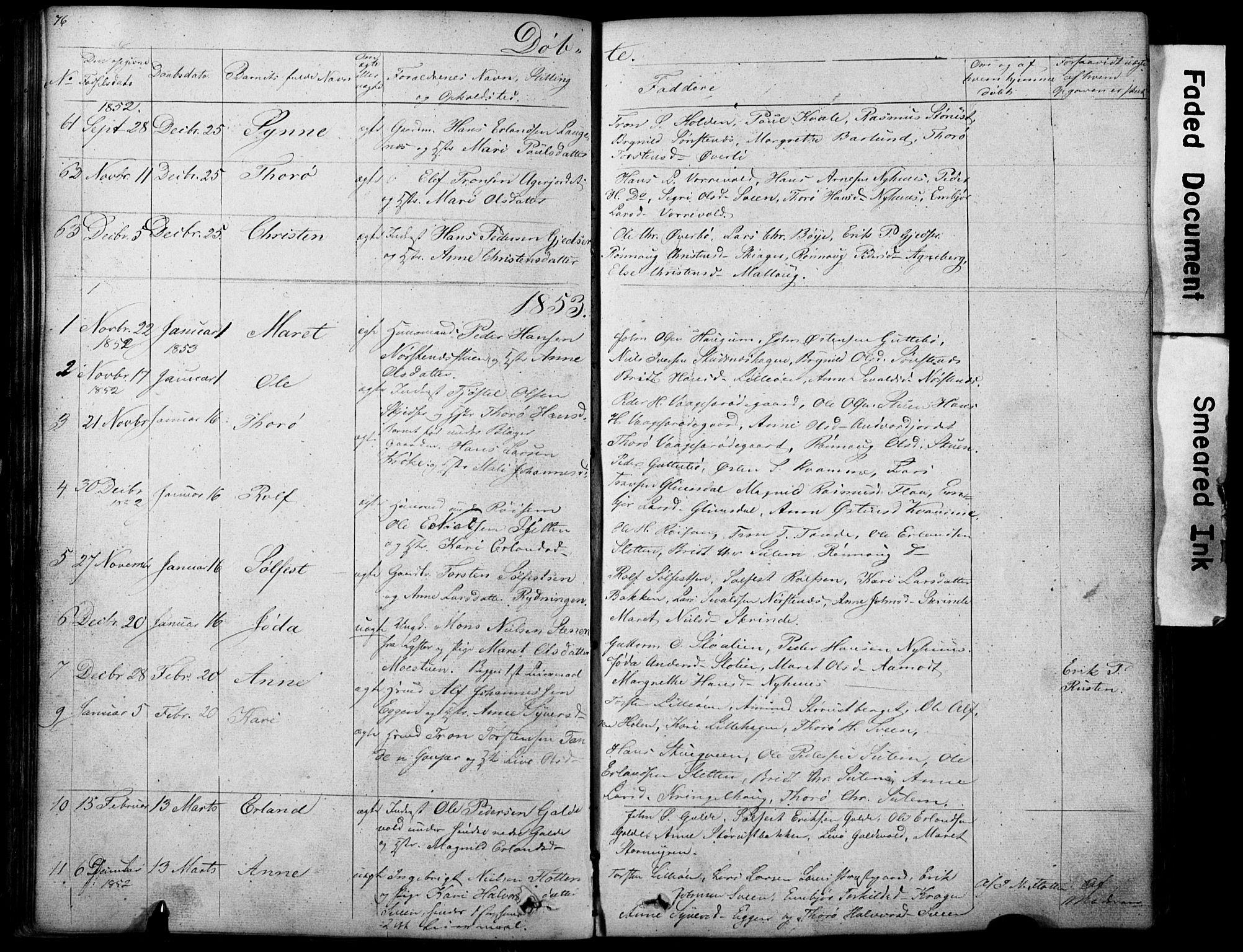 SAH, Lom prestekontor, L/L0012: Klokkerbok nr. 12, 1845-1873, s. 76-77