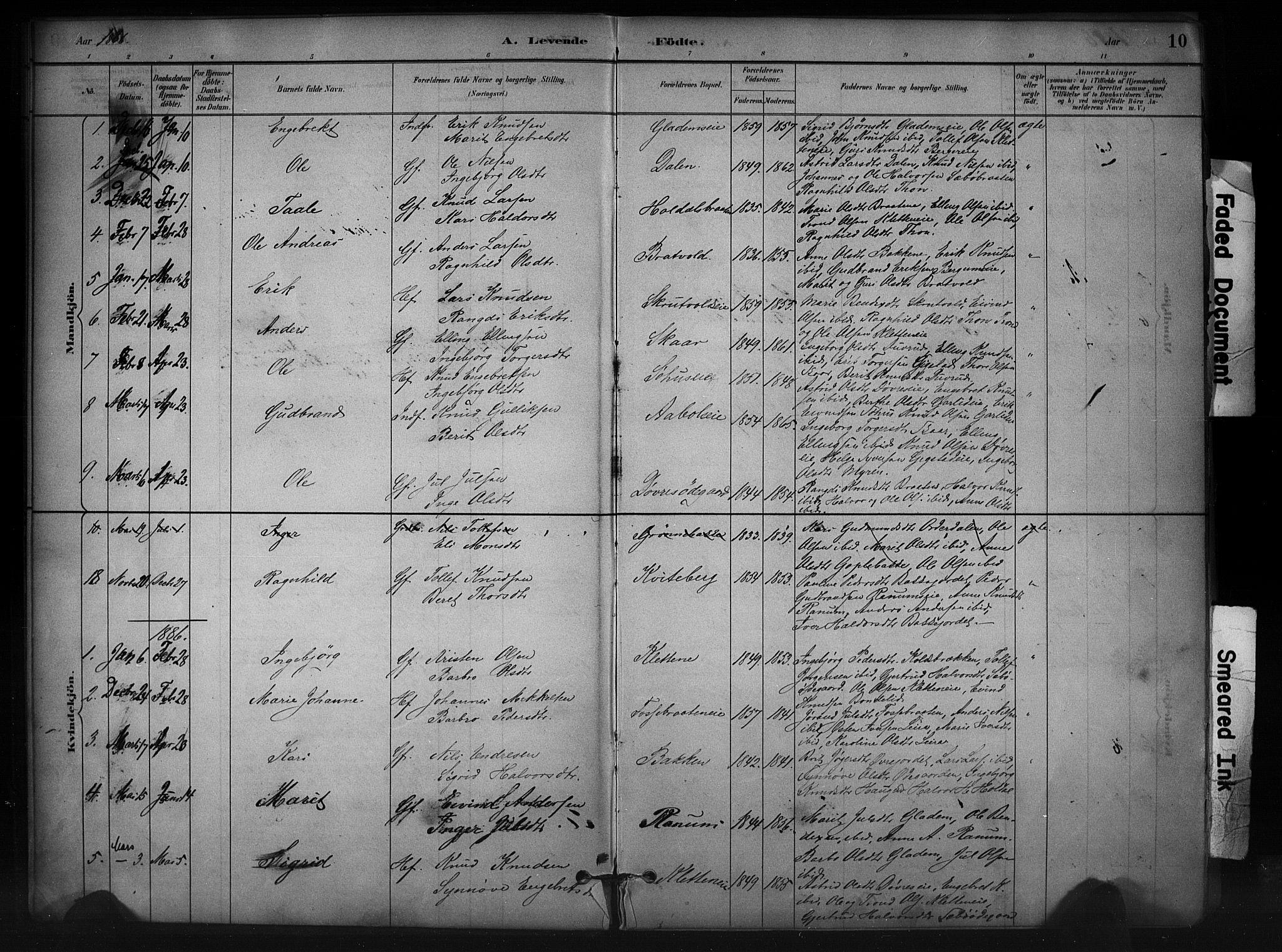 SAH, Nord-Aurdal prestekontor, Ministerialbok nr. 12, 1883-1895, s. 10