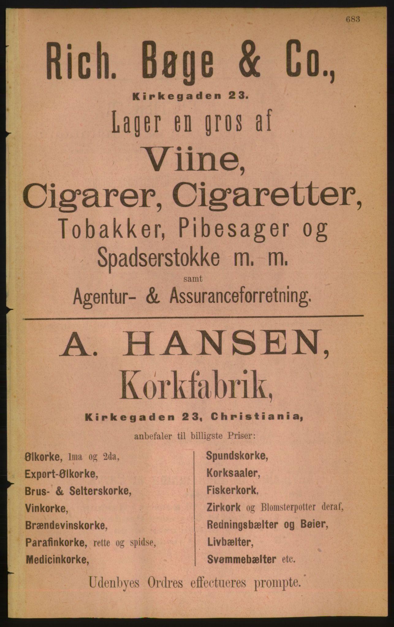 RA, Kristiania adressebok (publikasjon)*, 1889, s. 683