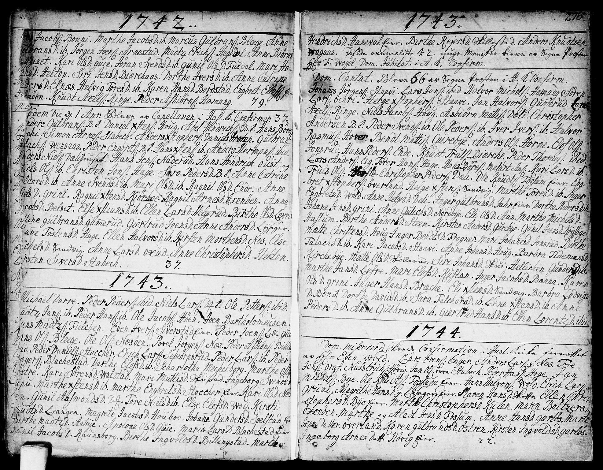 SAO, Asker prestekontor Kirkebøker, F/Fa/L0002: Ministerialbok nr. I 2, 1733-1766, s. 276