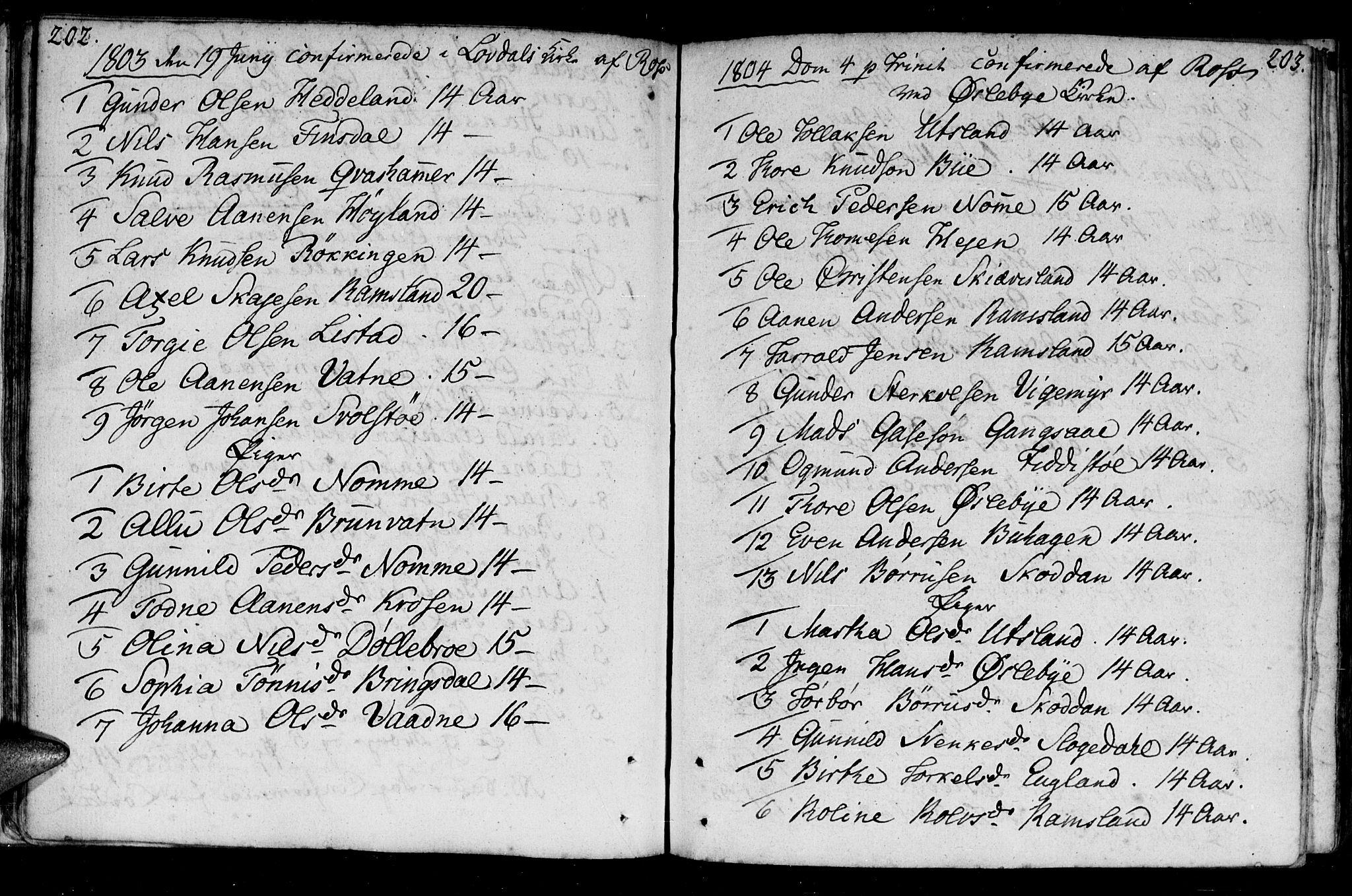SAK, Holum sokneprestkontor, F/Fa/Fac/L0001: Ministerialbok nr. A 1, 1773-1820, s. 202-203