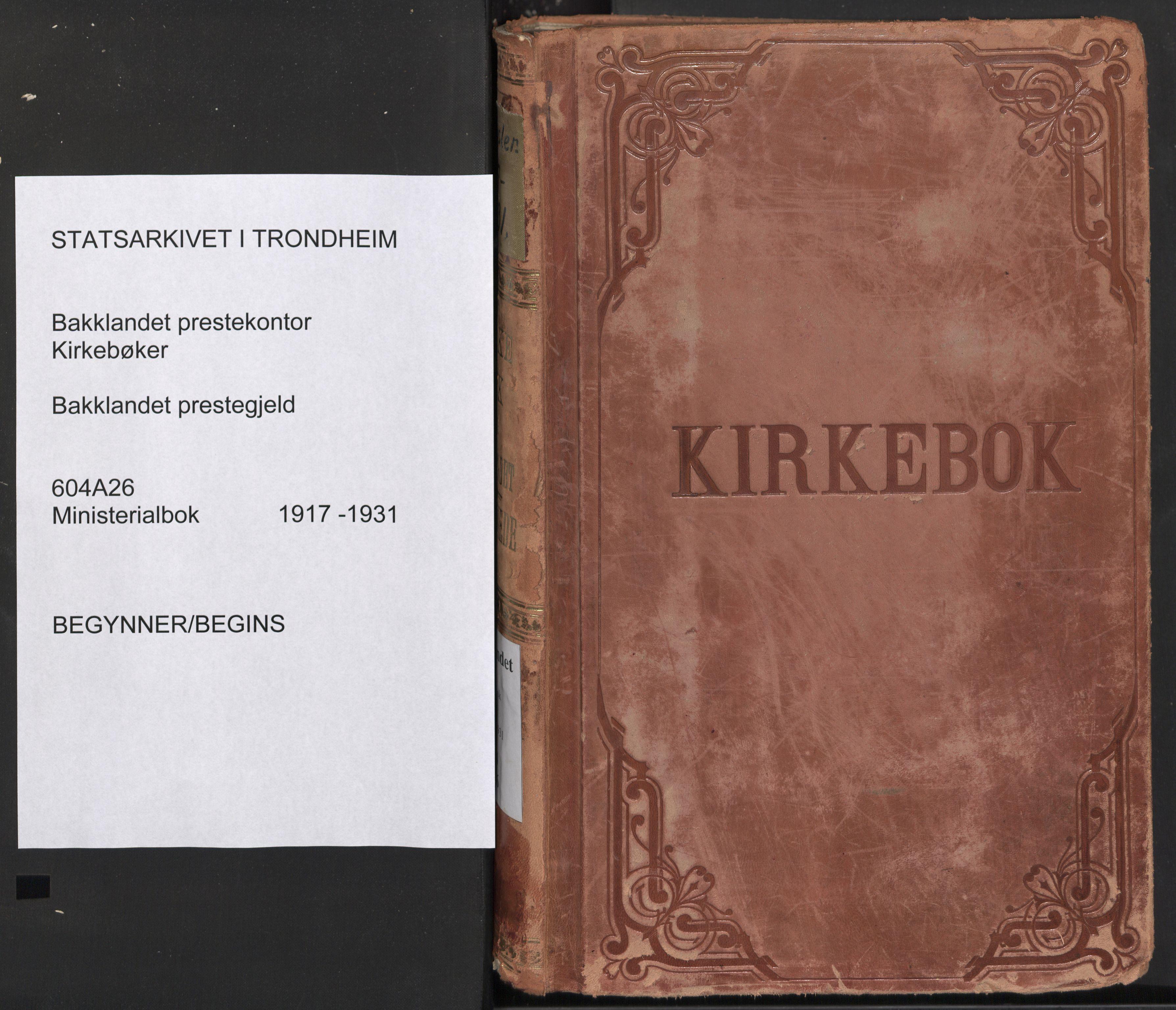 SAT, Ministerialprotokoller, klokkerbøker og fødselsregistre - Sør-Trøndelag, 604/L0206: Ministerialbok nr. 604A26, 1917-1931
