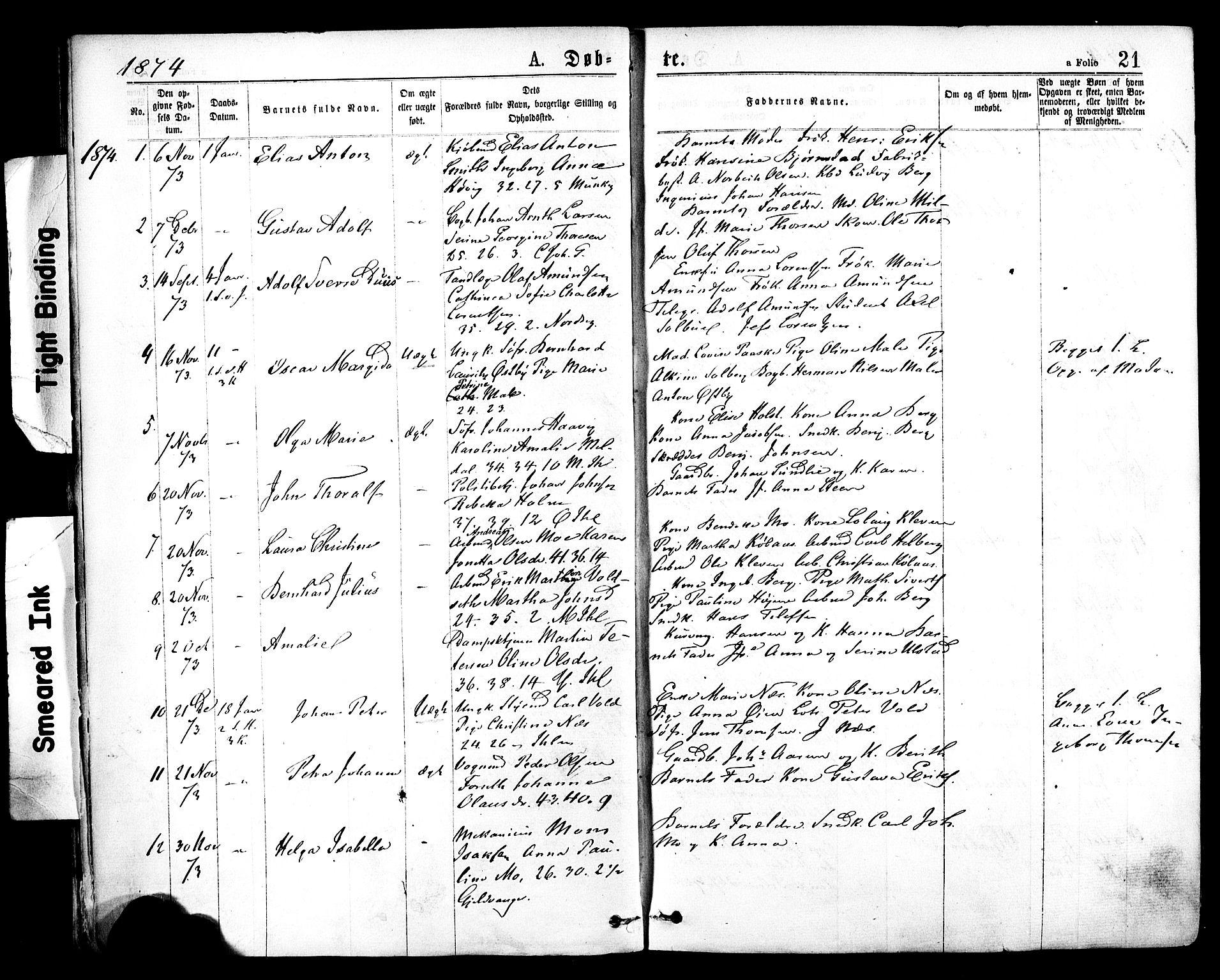 SAT, Ministerialprotokoller, klokkerbøker og fødselsregistre - Sør-Trøndelag, 602/L0118: Ministerialbok nr. 602A16, 1873-1879, s. 21