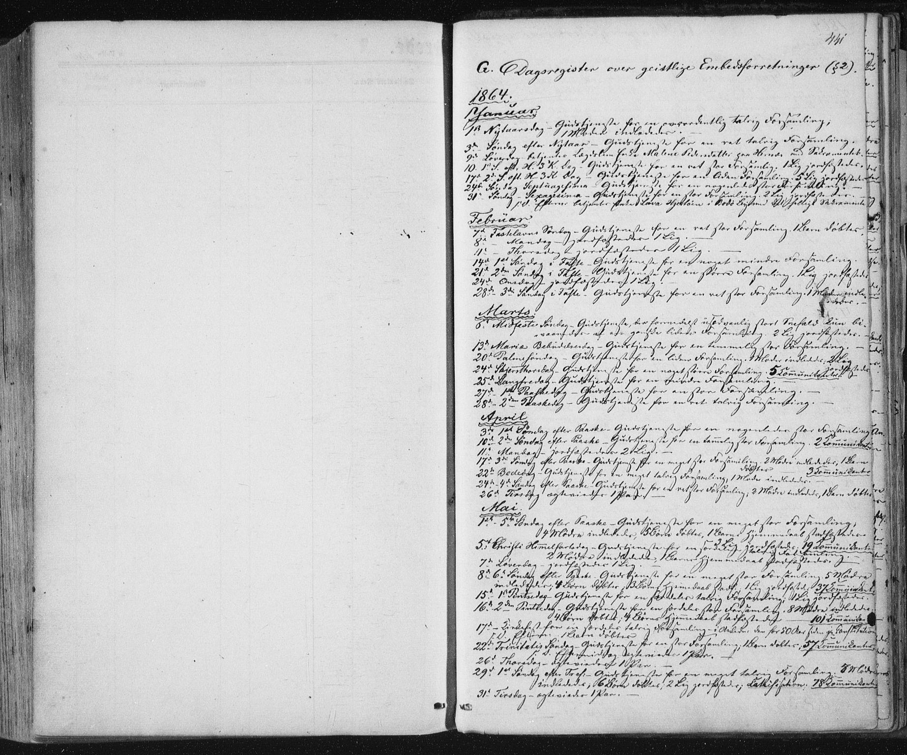 SAT, Ministerialprotokoller, klokkerbøker og fødselsregistre - Nordland, 801/L0008: Ministerialbok nr. 801A08, 1864-1875, s. 441