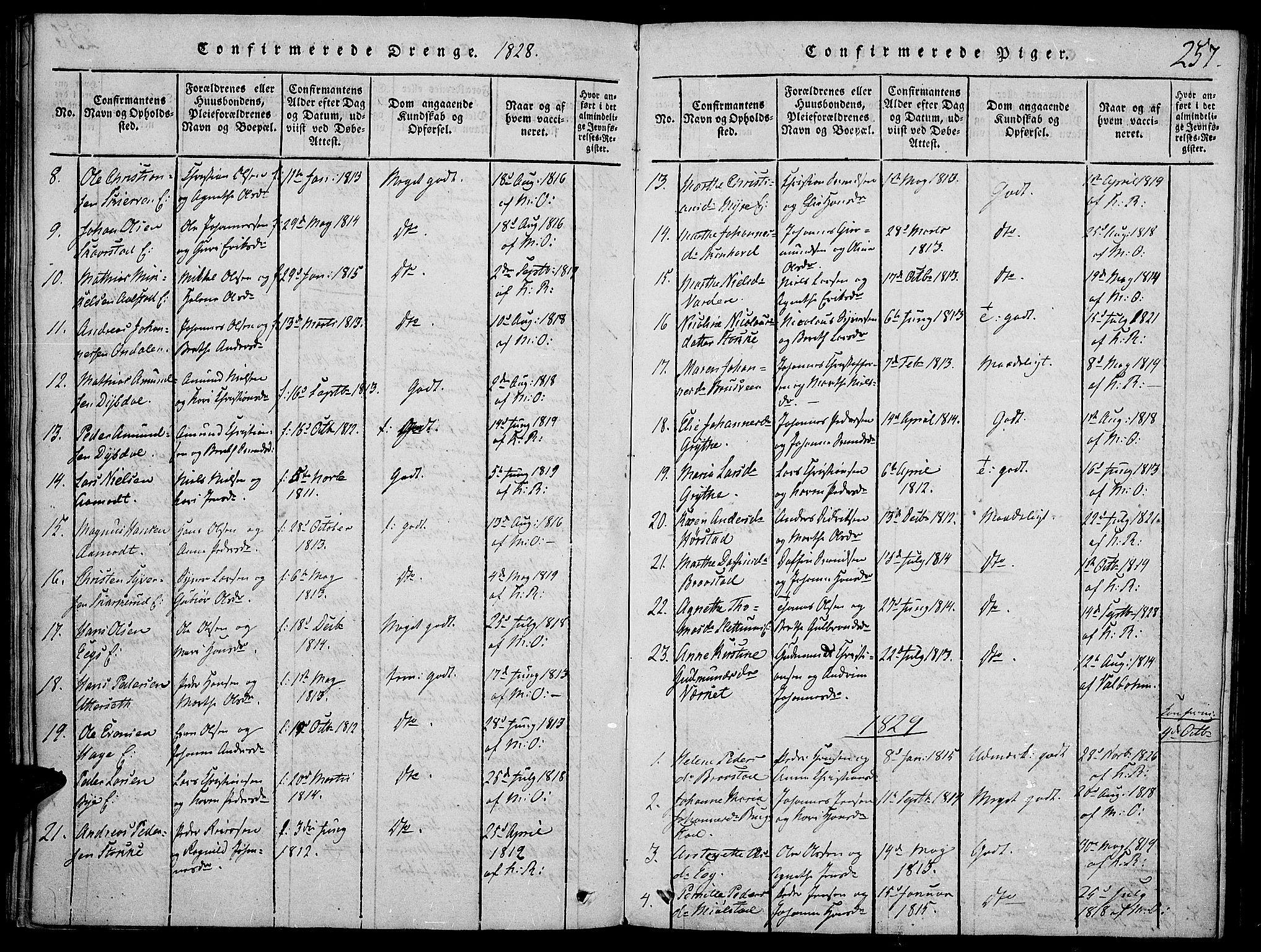 SAH, Vardal prestekontor, H/Ha/Haa/L0004: Ministerialbok nr. 4, 1814-1831, s. 257
