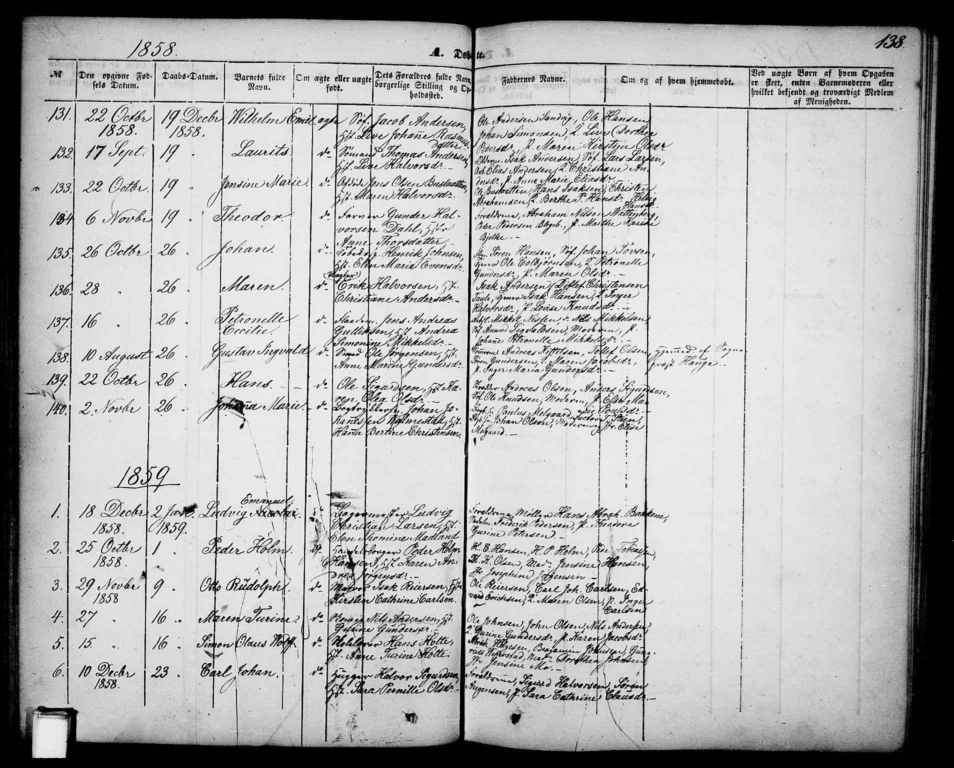 SAKO, Skien kirkebøker, G/Ga/L0004: Klokkerbok nr. 4, 1843-1867, s. 138