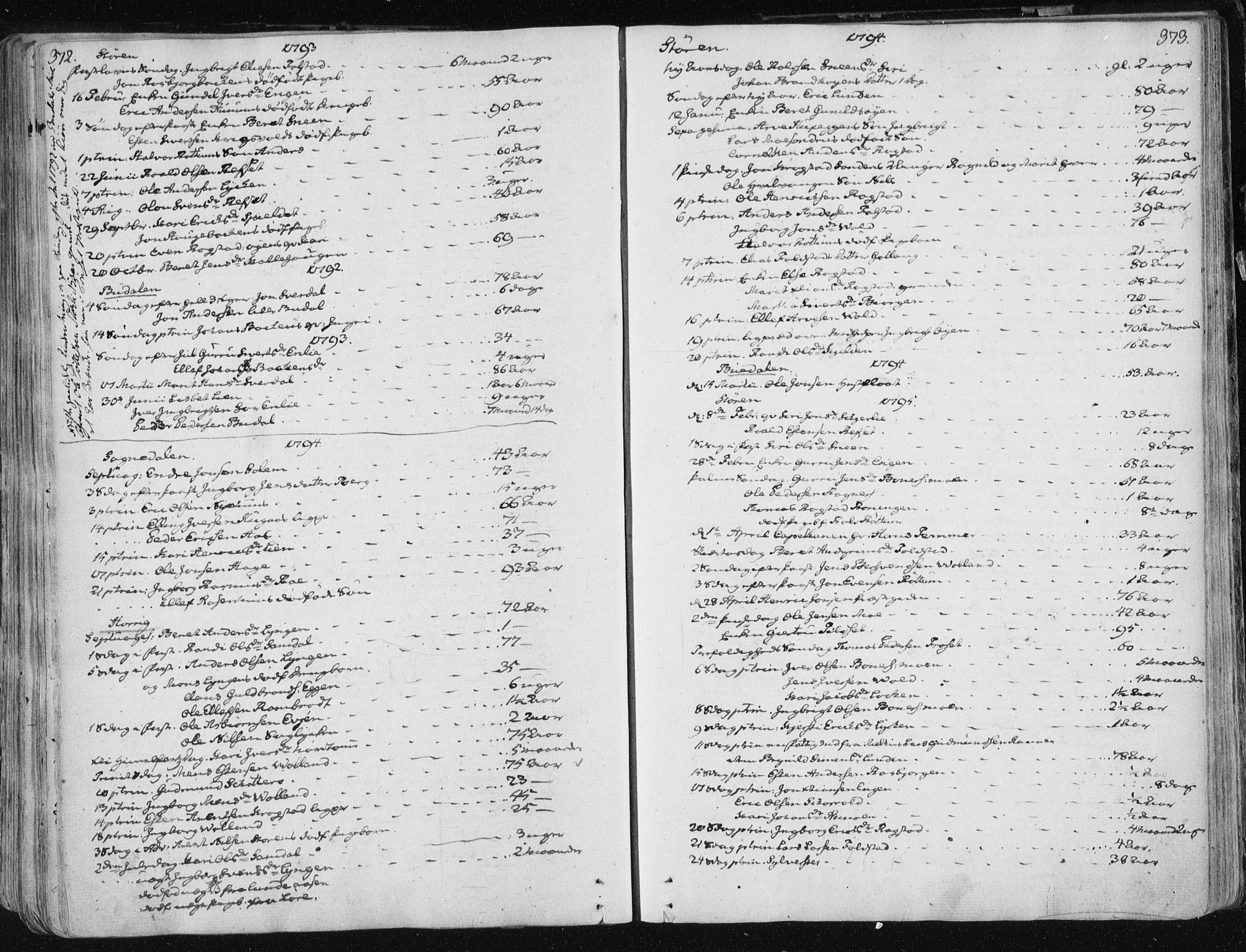SAT, Ministerialprotokoller, klokkerbøker og fødselsregistre - Sør-Trøndelag, 687/L0992: Ministerialbok nr. 687A03 /1, 1788-1815, s. 372-373
