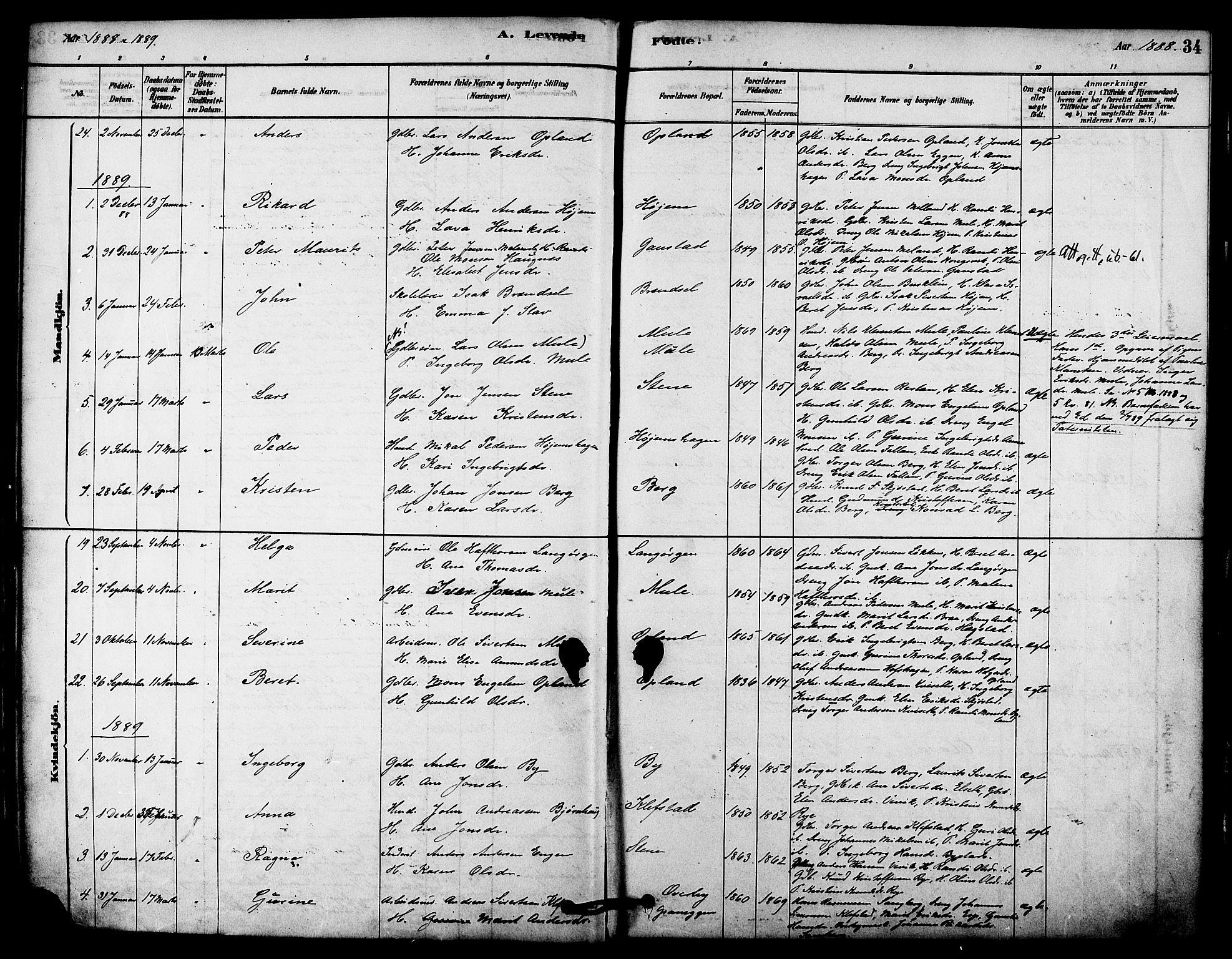 SAT, Ministerialprotokoller, klokkerbøker og fødselsregistre - Sør-Trøndelag, 612/L0378: Ministerialbok nr. 612A10, 1878-1897, s. 34