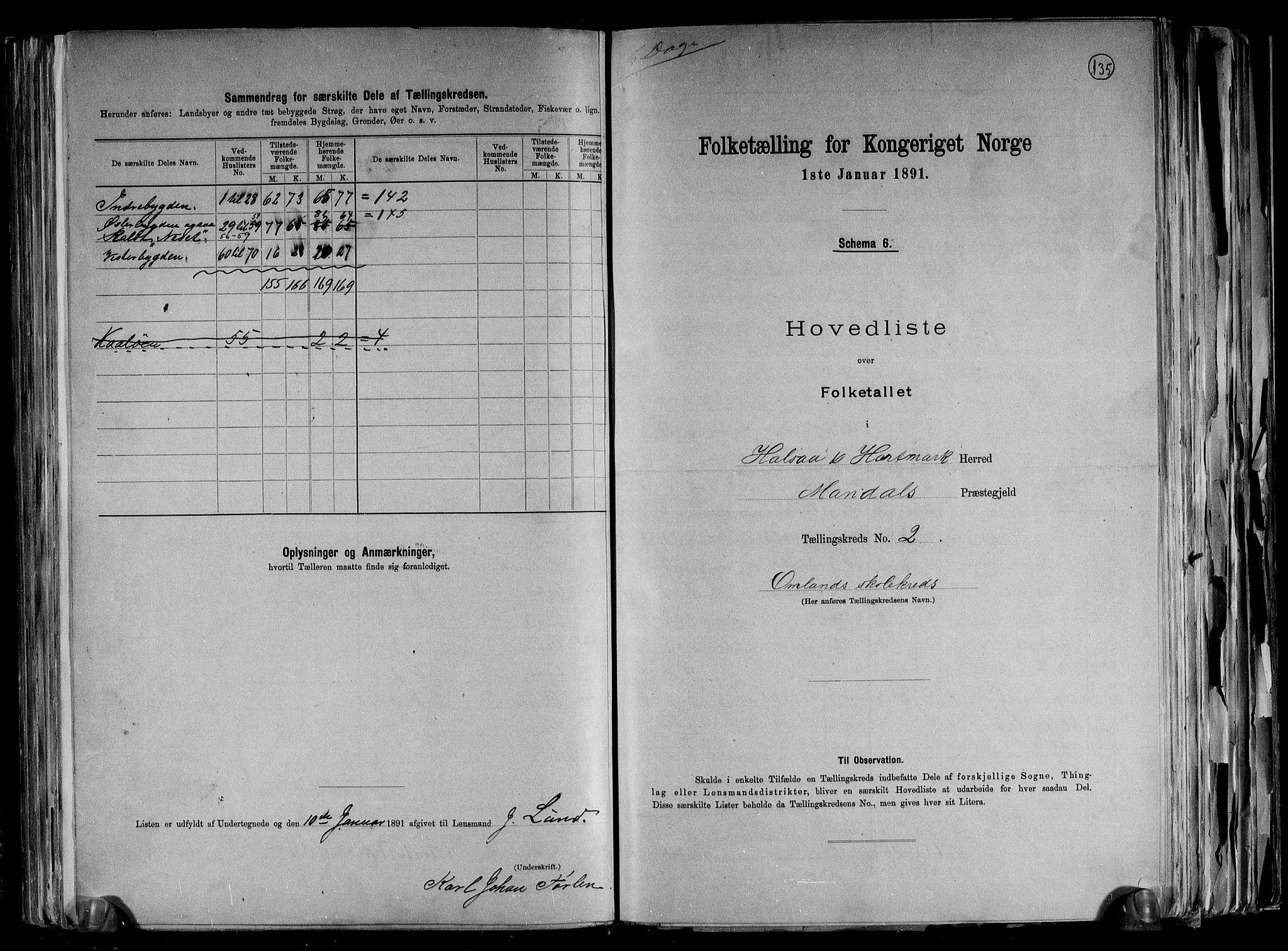 RA, Folketelling 1891 for 1019 Halse og Harkmark herred, 1891, s. 6