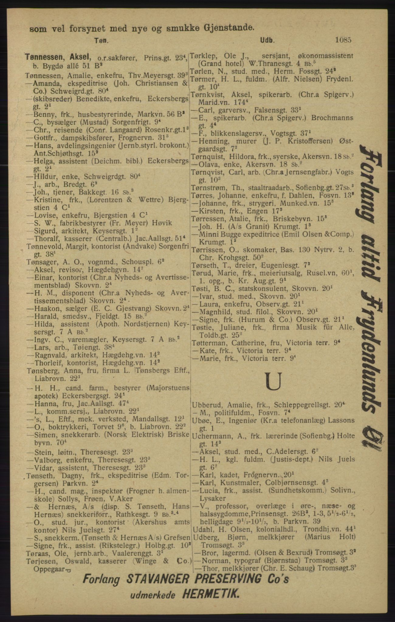 RA, Kristiania adressebok (publikasjon)*, 1913, s. 1085