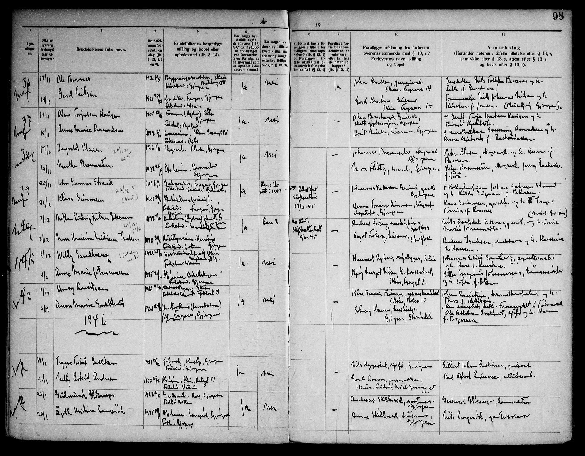 SAKO, Gjerpen kirkebøker, H/Ha/L0003: Lysningsprotokoll nr. I 3, 1919-1946, s. 98