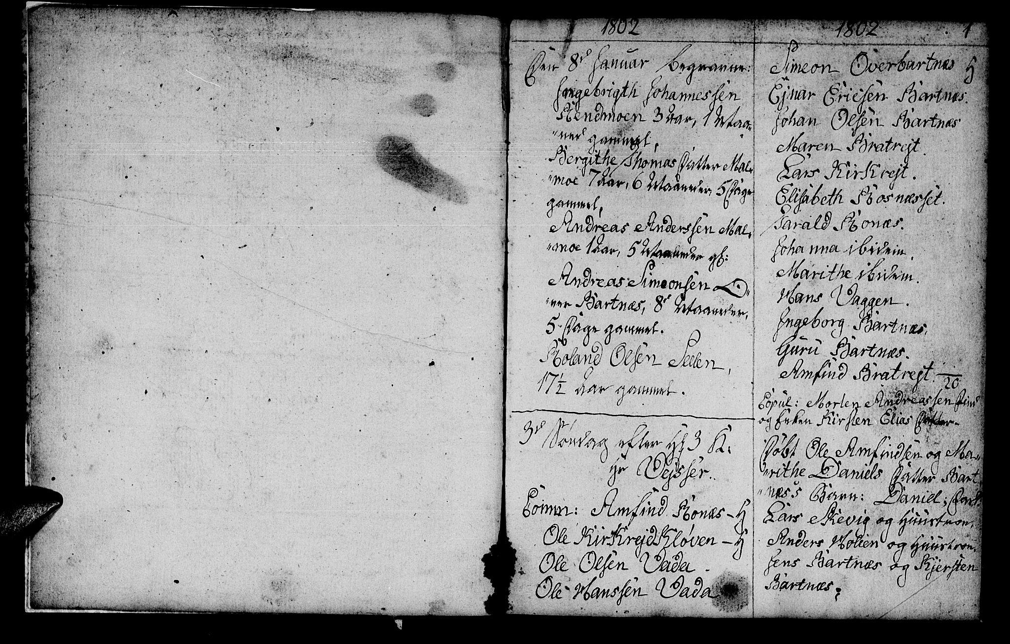 SAT, Ministerialprotokoller, klokkerbøker og fødselsregistre - Nord-Trøndelag, 745/L0432: Klokkerbok nr. 745C01, 1802-1814, s. 0-1