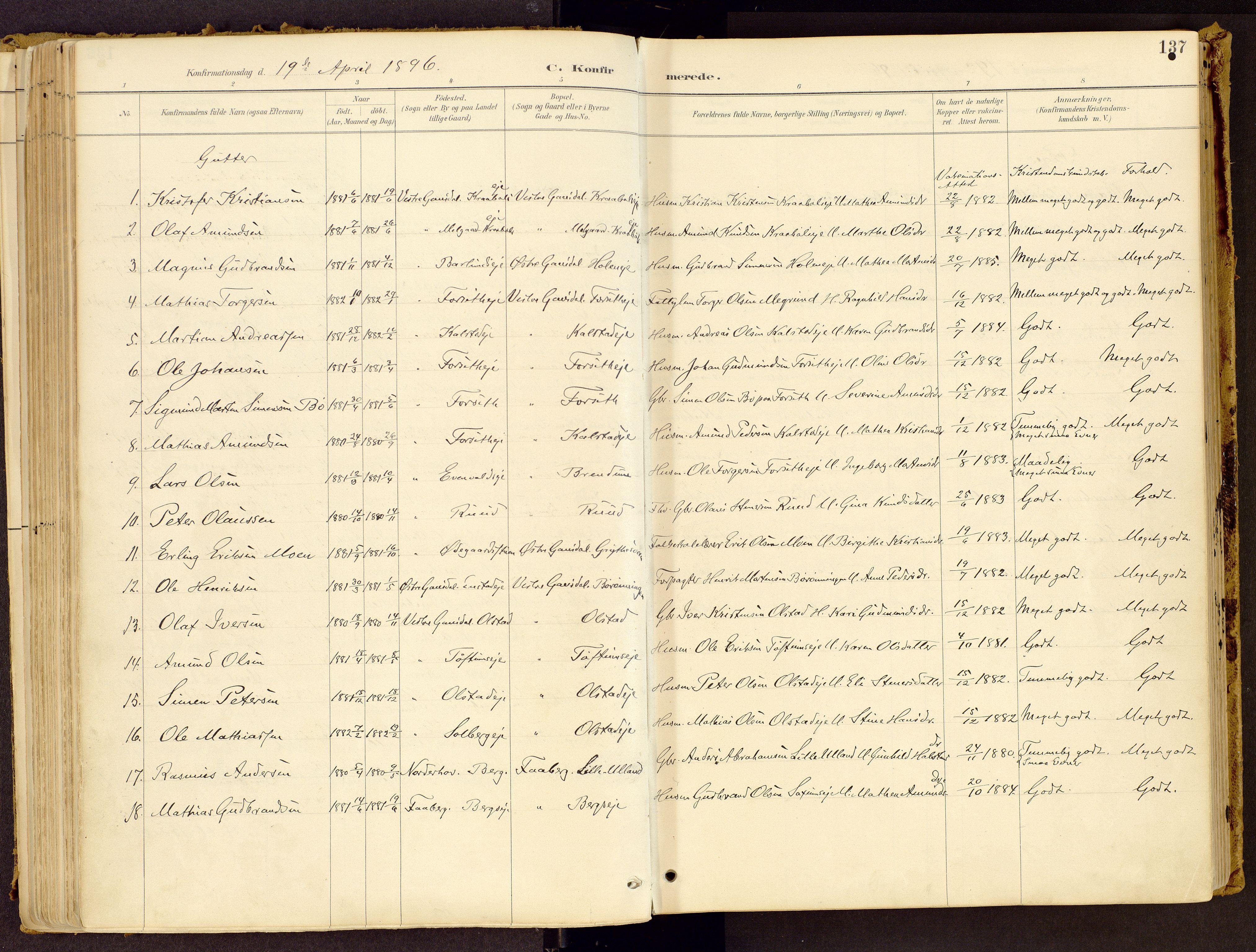 SAH, Vestre Gausdal prestekontor, Ministerialbok nr. 1, 1887-1914, s. 137