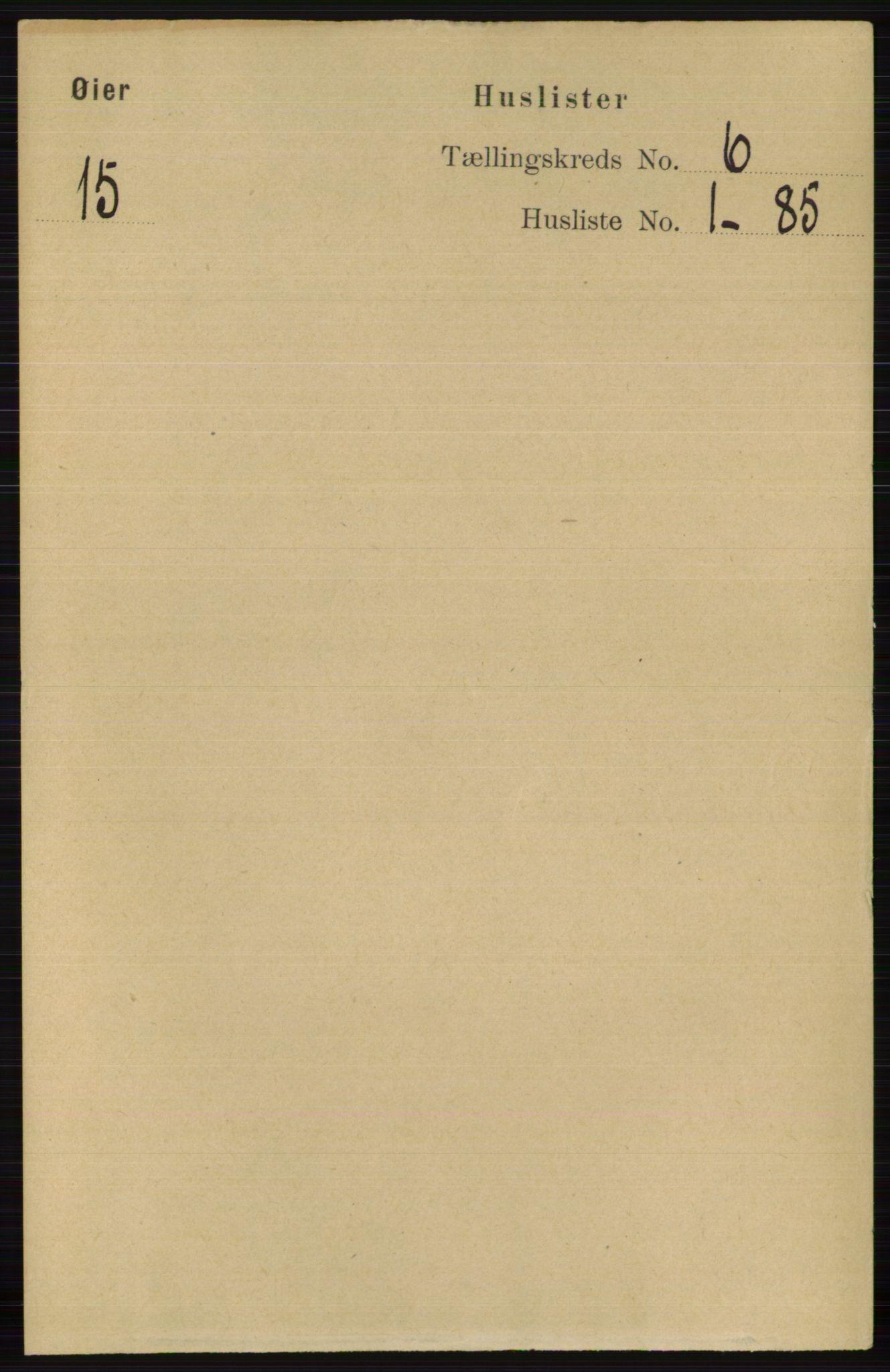 RA, Folketelling 1891 for 0521 Øyer herred, 1891, s. 1930
