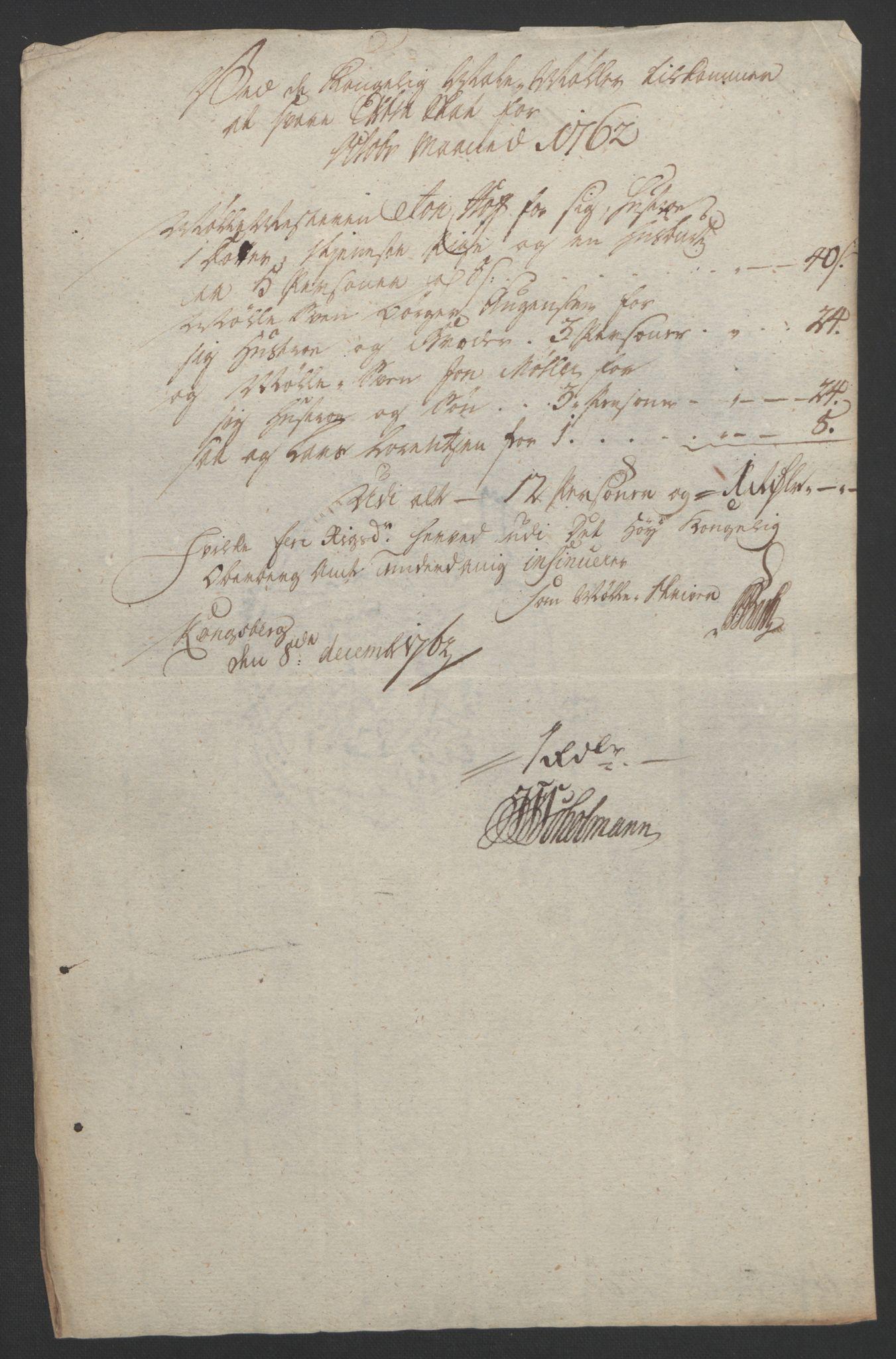 RA, Rentekammeret inntil 1814, Reviderte regnskaper, Bergverksregnskaper, R/Rc/Rca/L0843: Ekstraskatt, 1762-1765, s. 161
