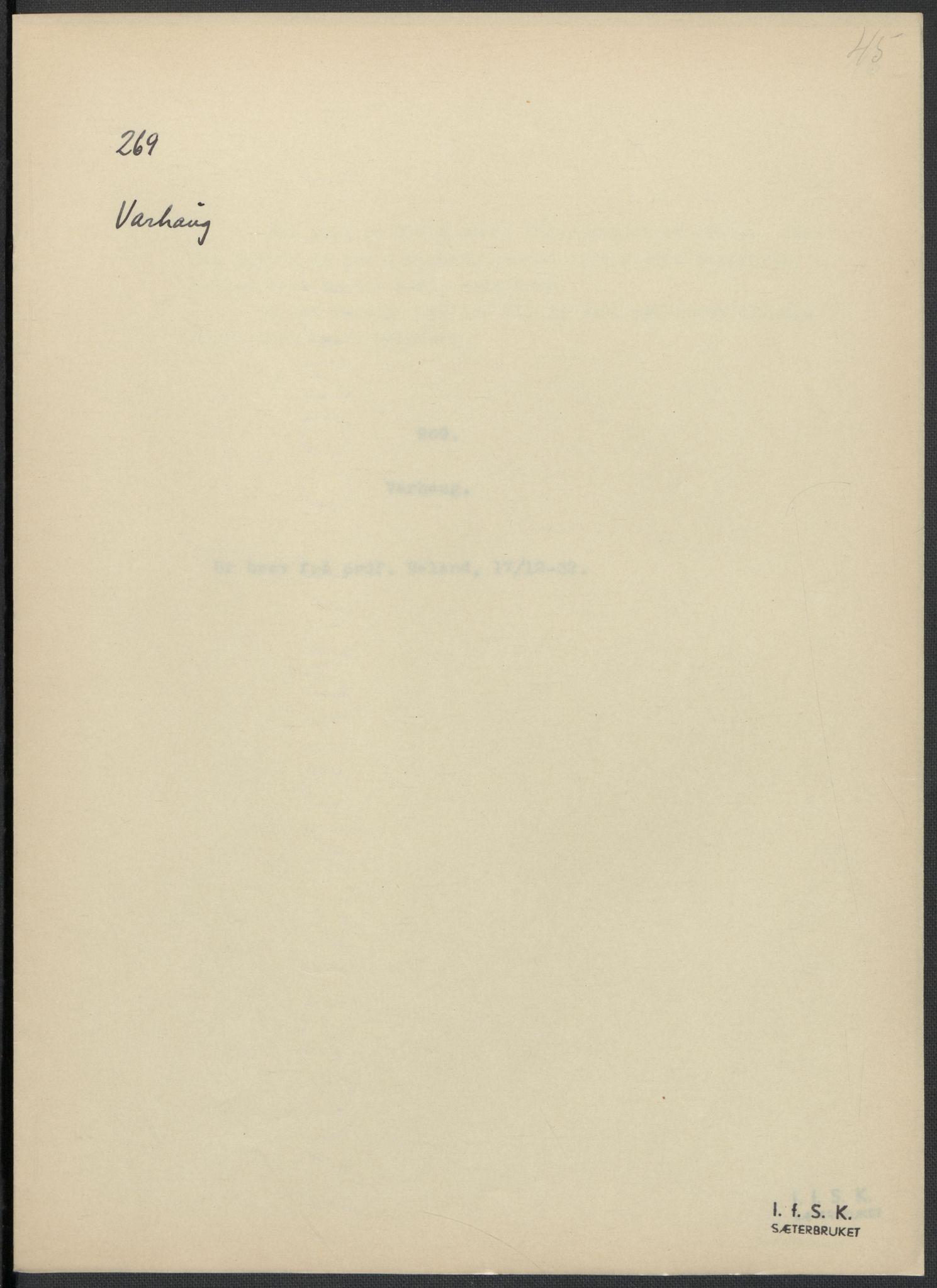RA, Instituttet for sammenlignende kulturforskning, F/Fc/L0009: Eske B9:, 1932-1935, s. 45