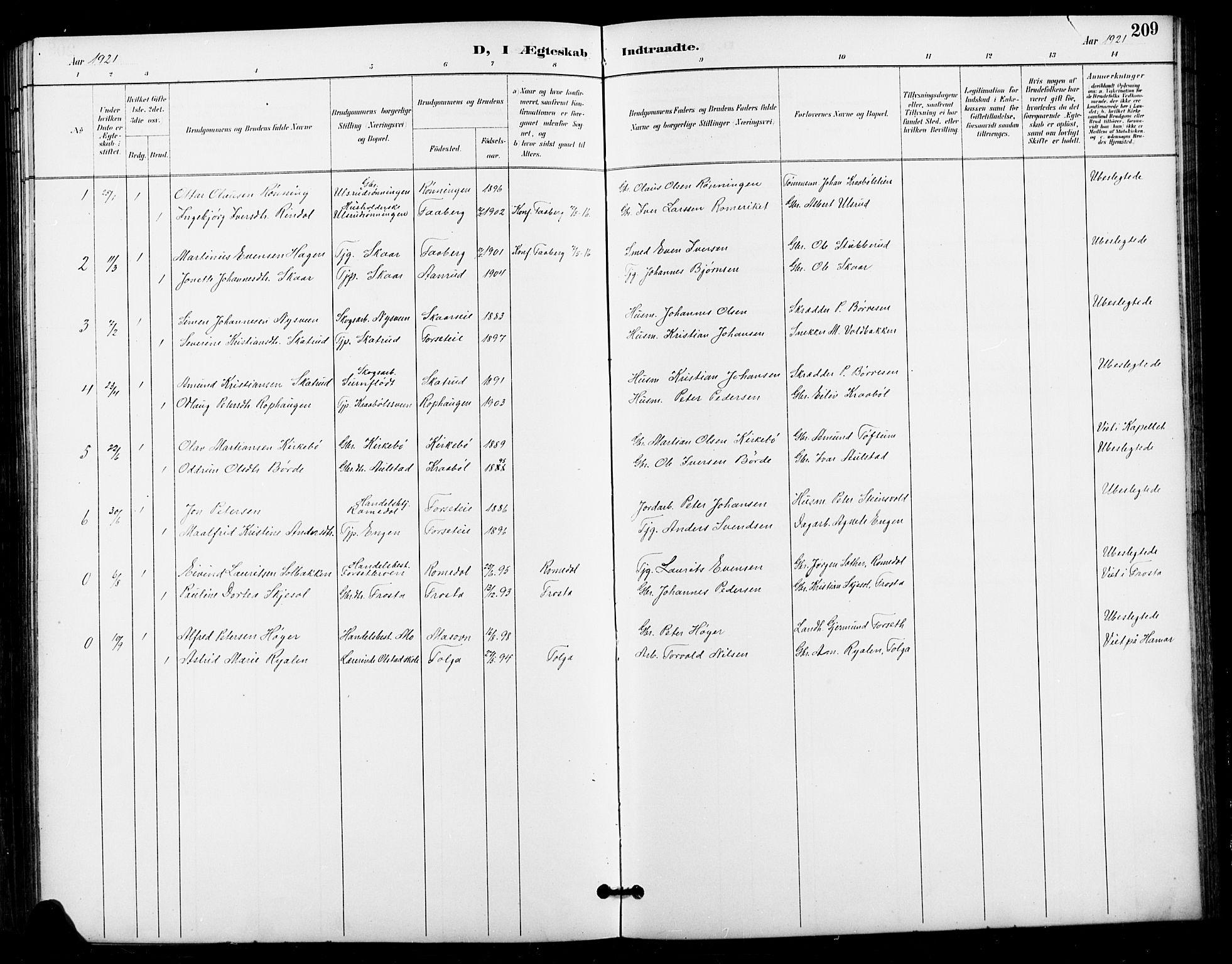 SAH, Vestre Gausdal prestekontor, Klokkerbok nr. 3, 1896-1925, s. 209