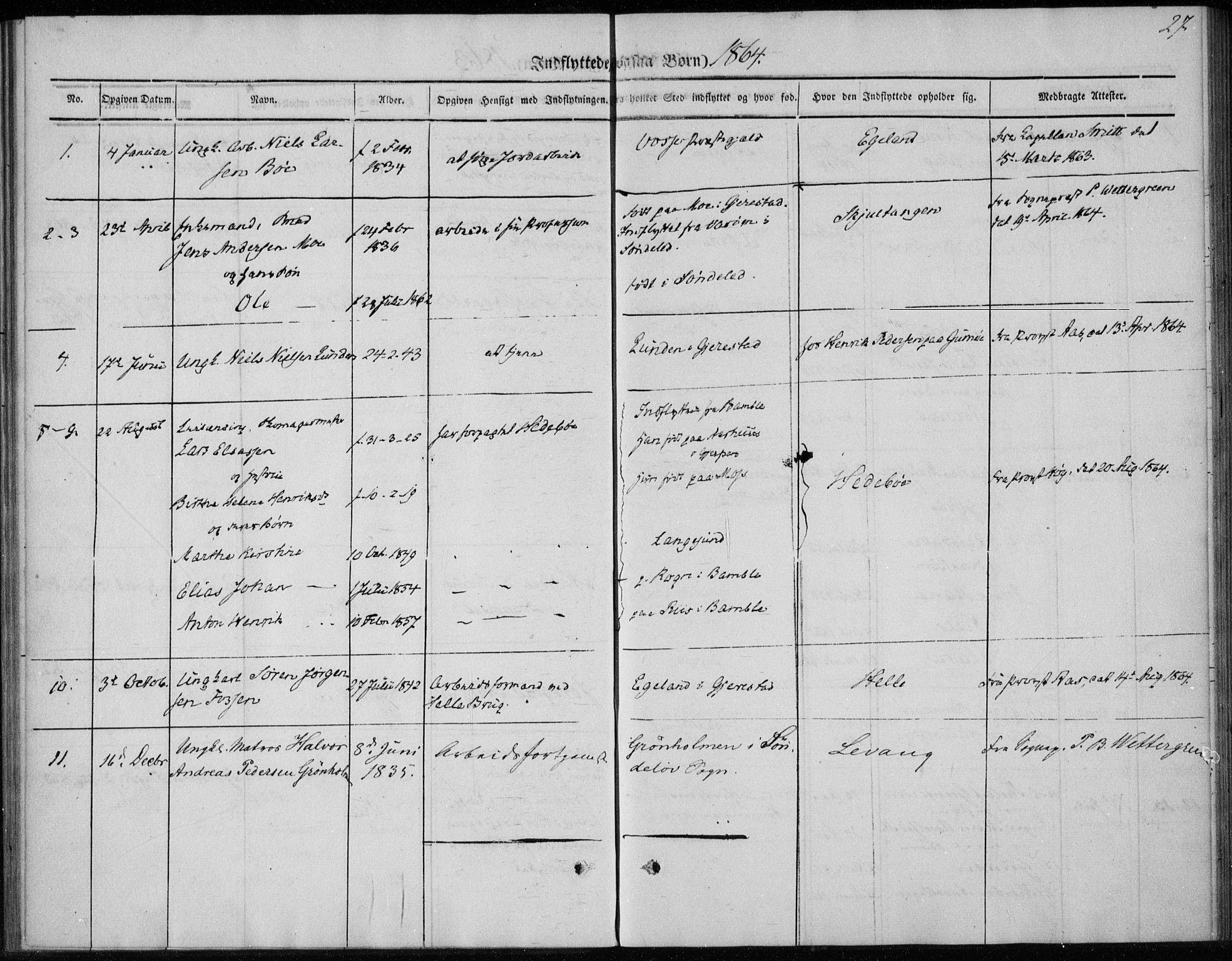 SAKO, Sannidal kirkebøker, F/Fa/L0013: Ministerialbok nr. 13, 1854-1873, s. 27