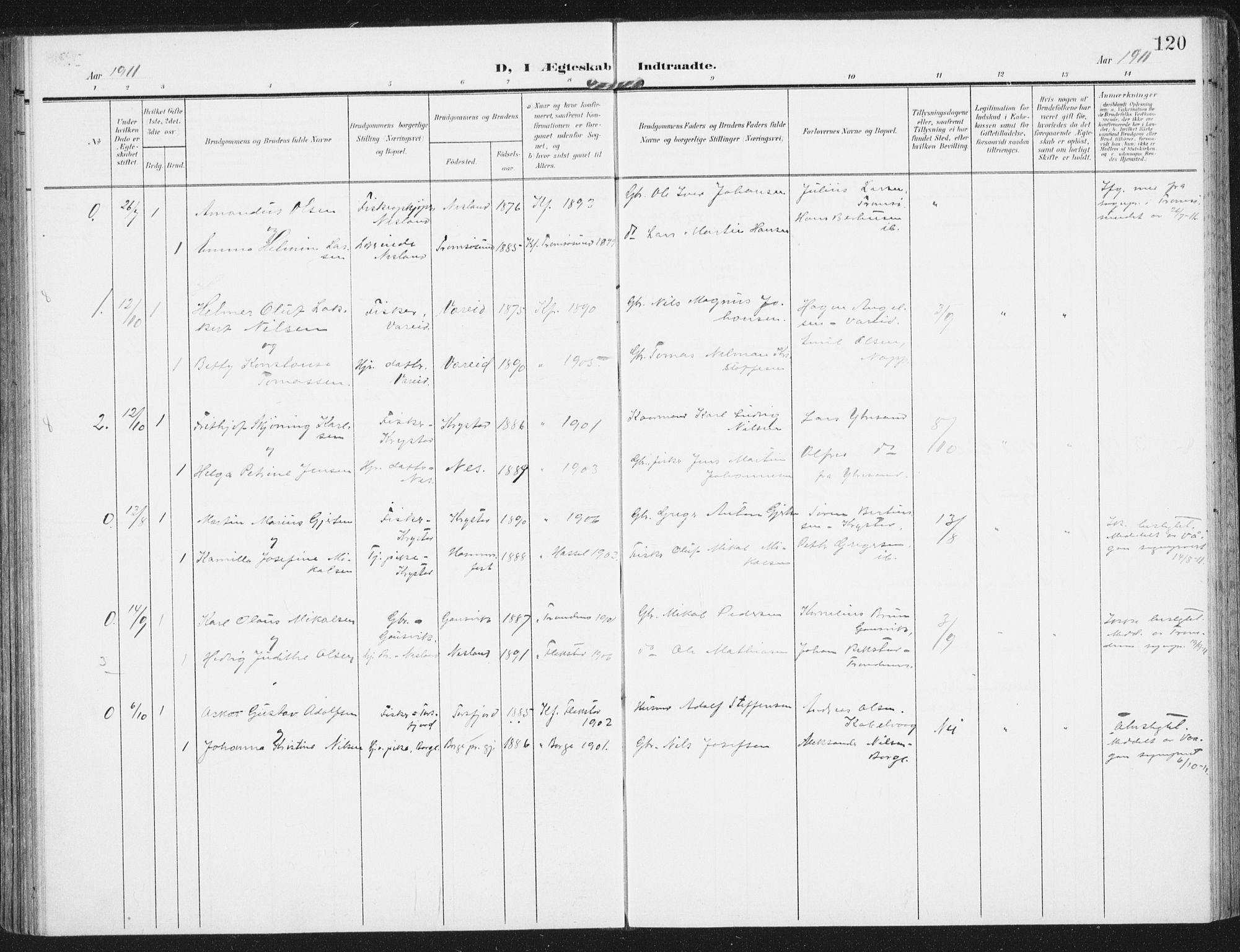 SAT, Ministerialprotokoller, klokkerbøker og fødselsregistre - Nordland, 885/L1206: Ministerialbok nr. 885A07, 1905-1915, s. 120