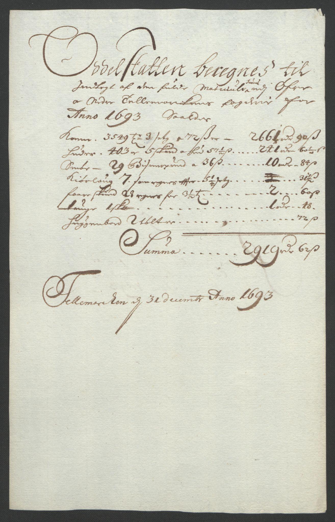 RA, Rentekammeret inntil 1814, Reviderte regnskaper, Fogderegnskap, R35/L2091: Fogderegnskap Øvre og Nedre Telemark, 1690-1693, s. 277