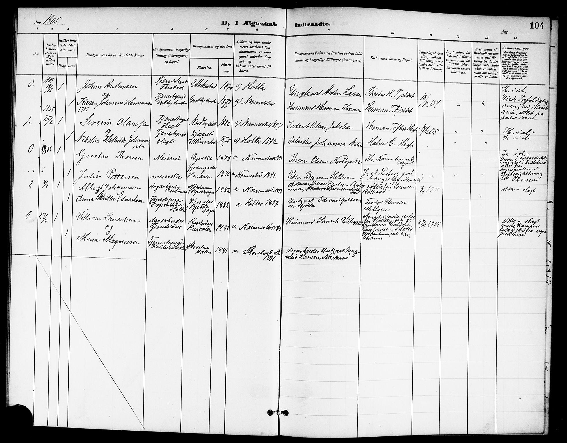 SAO, Nannestad prestekontor Kirkebøker, G/Ga/L0002: Klokkerbok nr. I 2, 1901-1913, s. 104