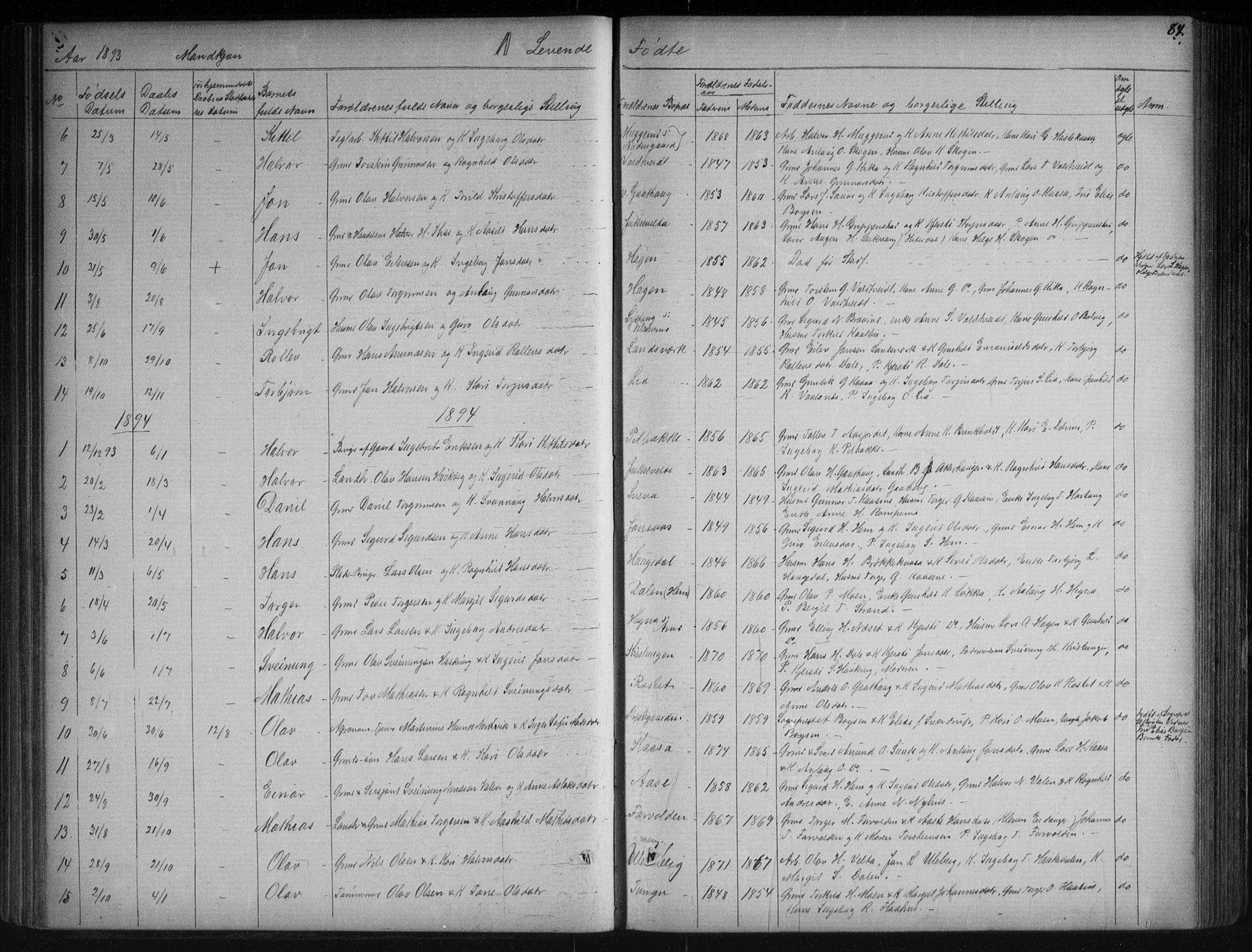 SAKO, Sauherad kirkebøker, G/Ga/L0003: Klokkerbok nr. I 3, 1866-1905, s. 84