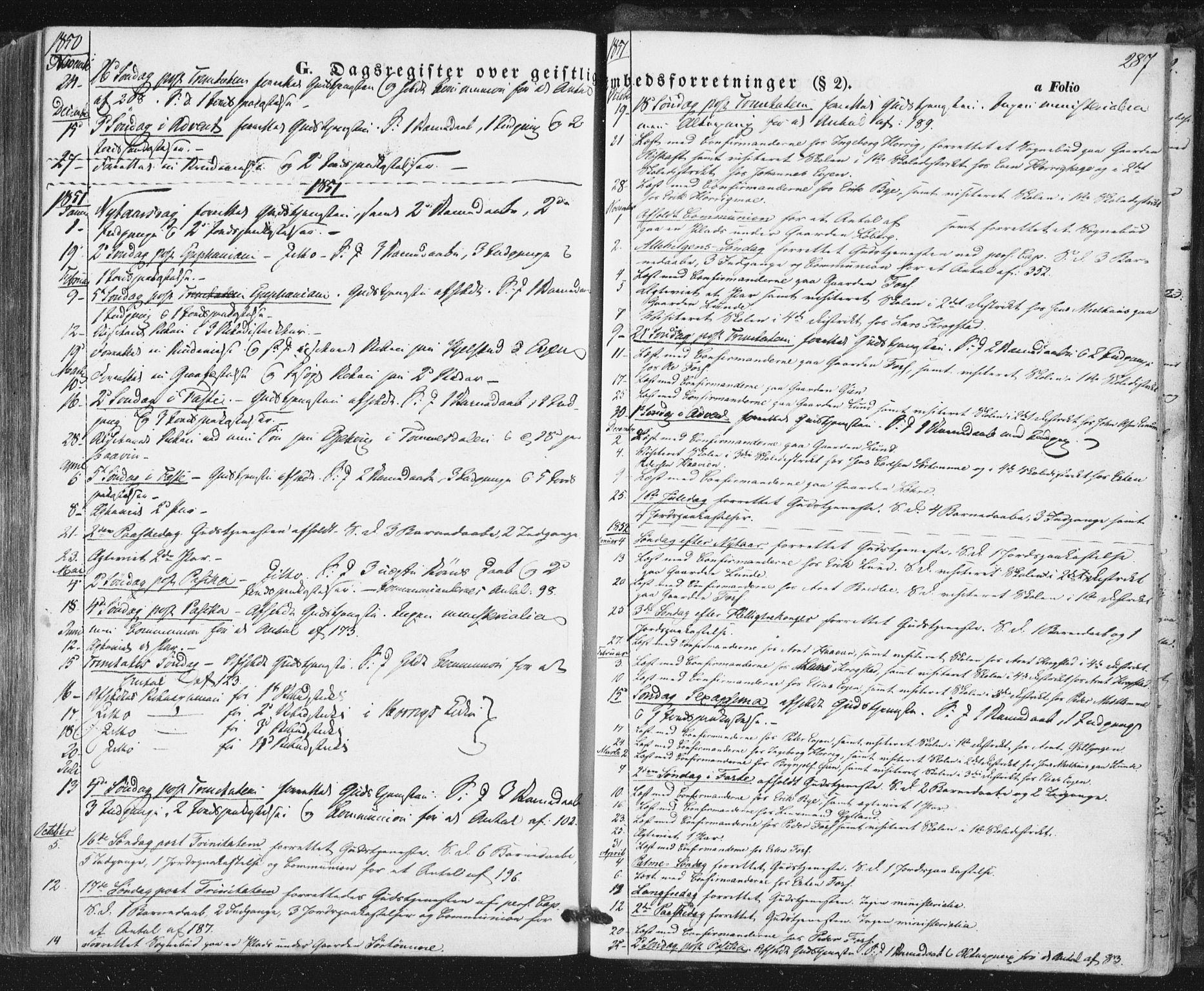 SAT, Ministerialprotokoller, klokkerbøker og fødselsregistre - Sør-Trøndelag, 692/L1103: Ministerialbok nr. 692A03, 1849-1870, s. 287