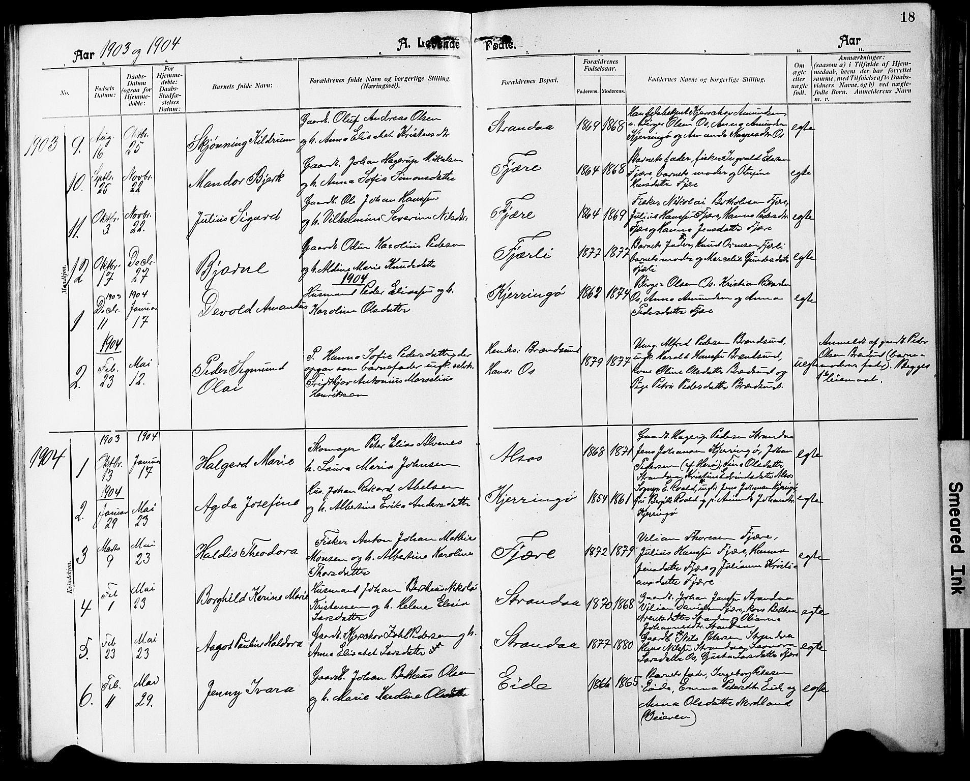 SAT, Ministerialprotokoller, klokkerbøker og fødselsregistre - Nordland, 803/L0077: Klokkerbok nr. 803C04, 1897-1930, s. 18