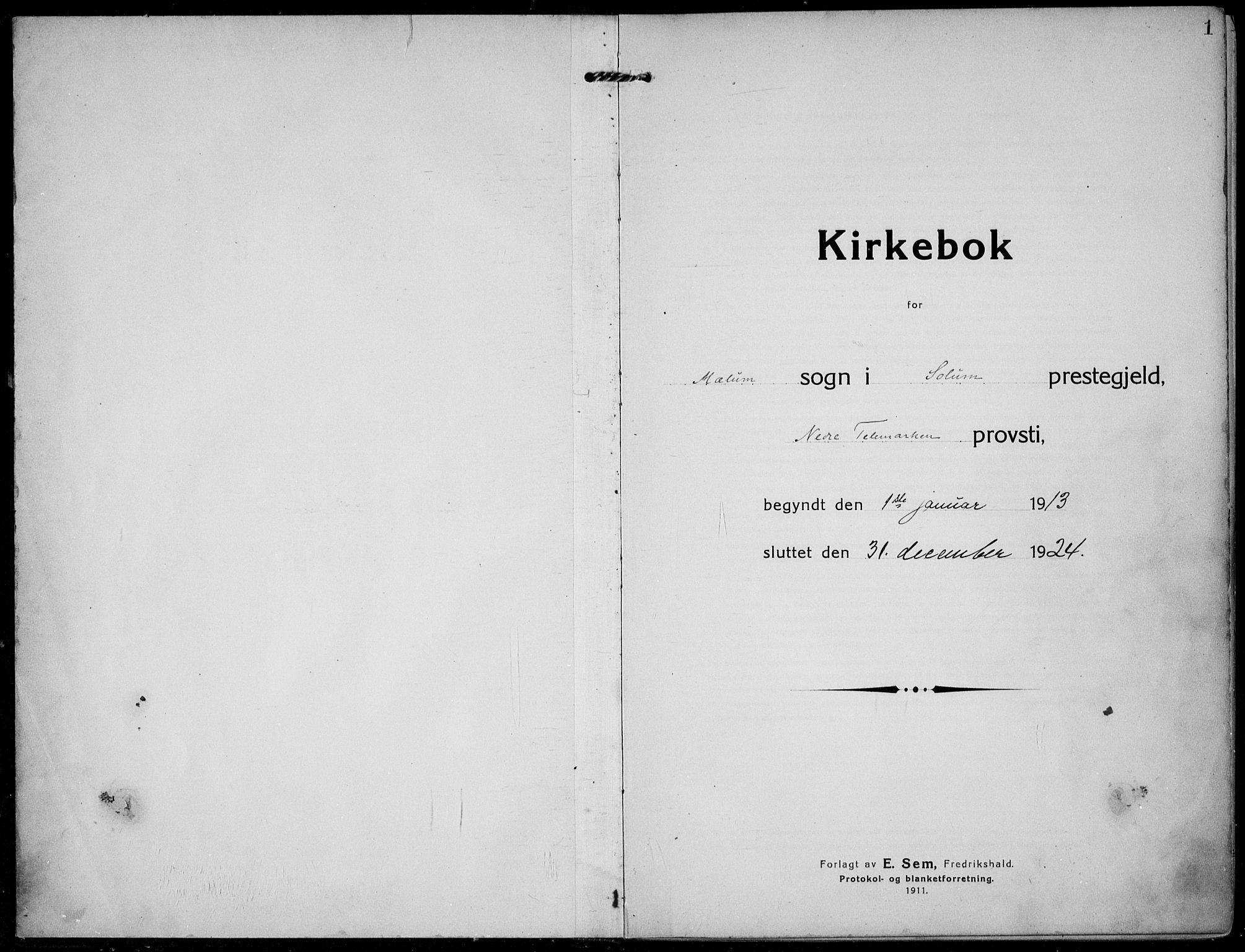 SAKO, Solum kirkebøker, F/Fb/L0004: Ministerialbok nr. II 4, 1913-1924, s. 1