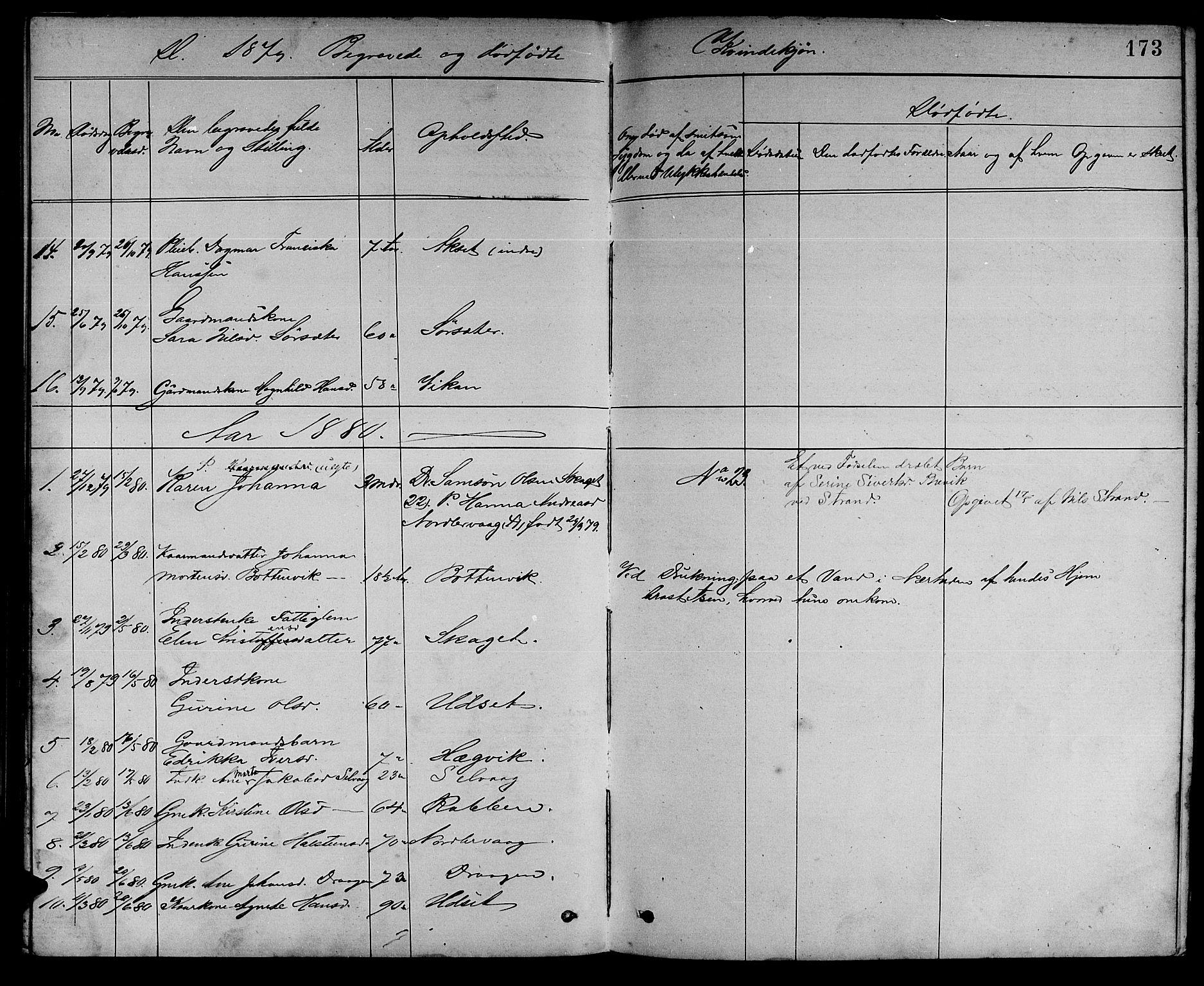 SAT, Ministerialprotokoller, klokkerbøker og fødselsregistre - Sør-Trøndelag, 637/L0561: Klokkerbok nr. 637C02, 1873-1882, s. 173