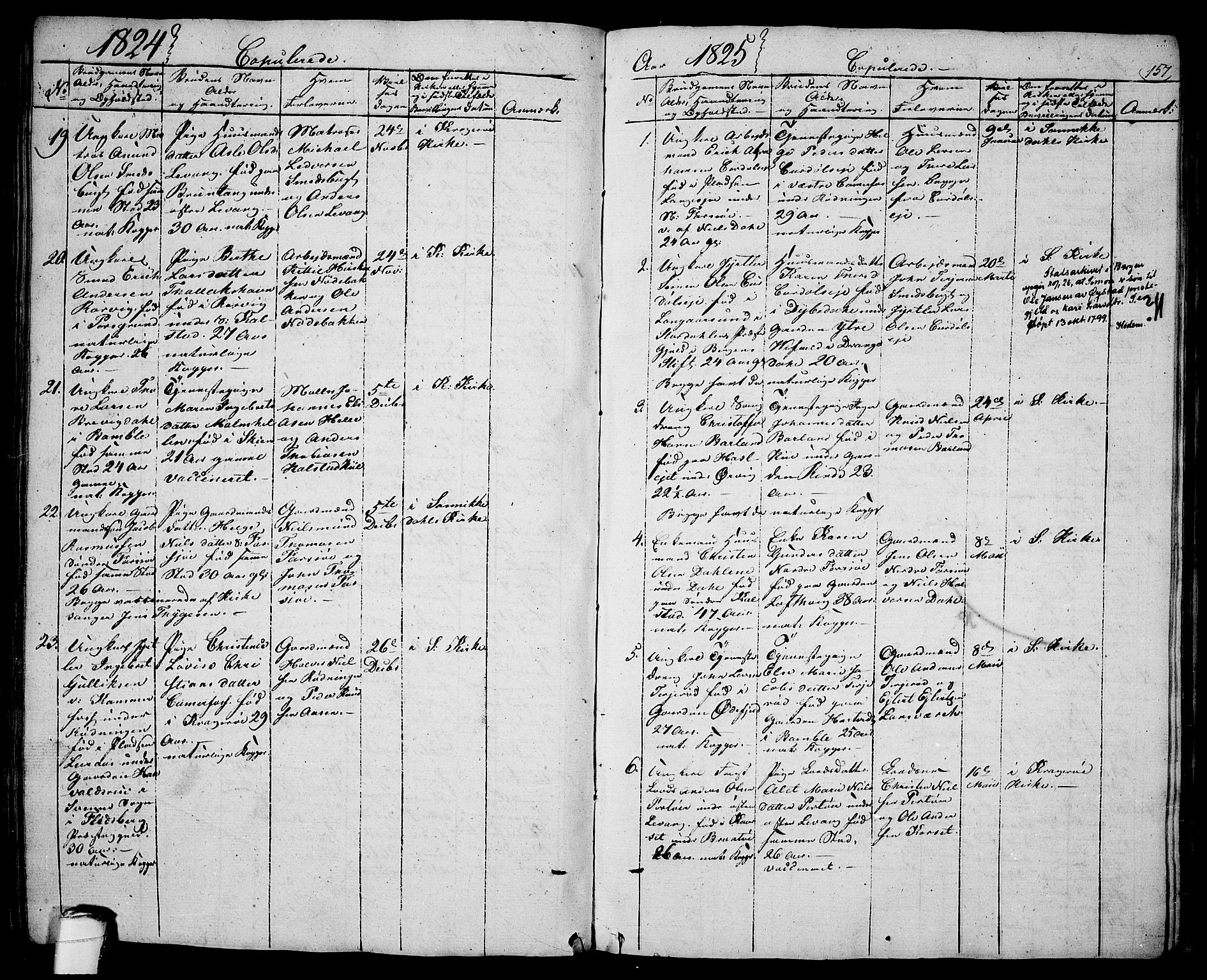 SAKO, Sannidal kirkebøker, F/Fa/L0005: Ministerialbok nr. 5, 1823-1830, s. 157