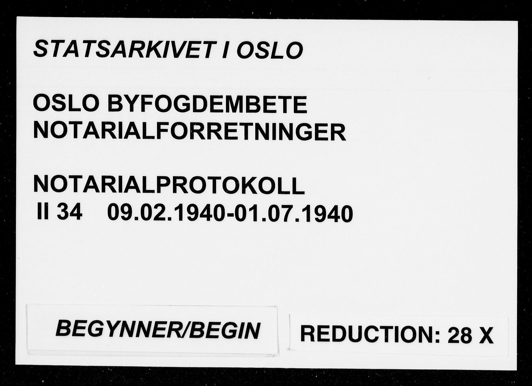SAO, Oslo byfogd avd. I, L/Lb/Lbb/L0034: Notarialprotokoll, rekke II: Vigsler, 1940, s. upaginert