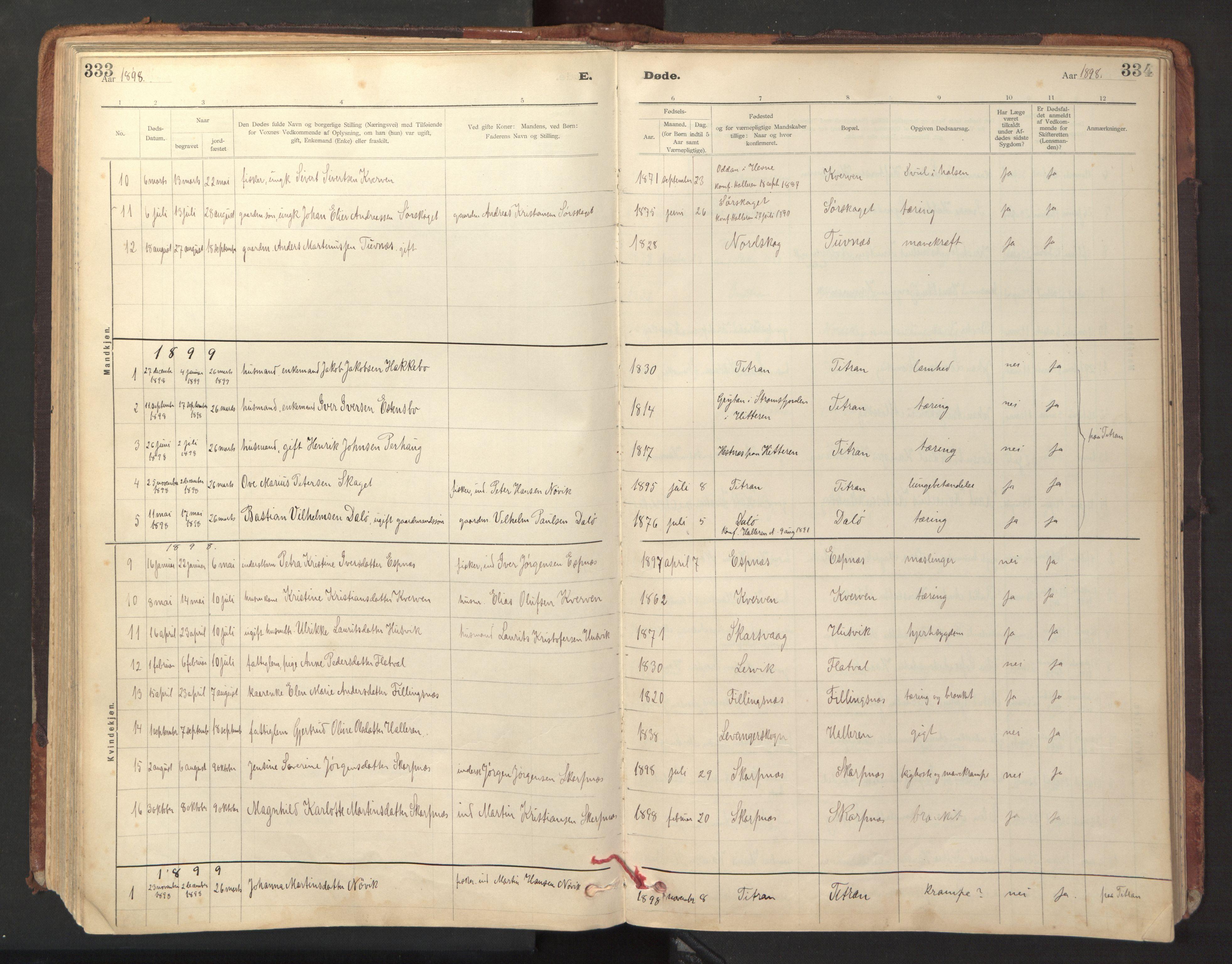 SAT, Ministerialprotokoller, klokkerbøker og fødselsregistre - Sør-Trøndelag, 641/L0596: Ministerialbok nr. 641A02, 1898-1915, s. 333-334