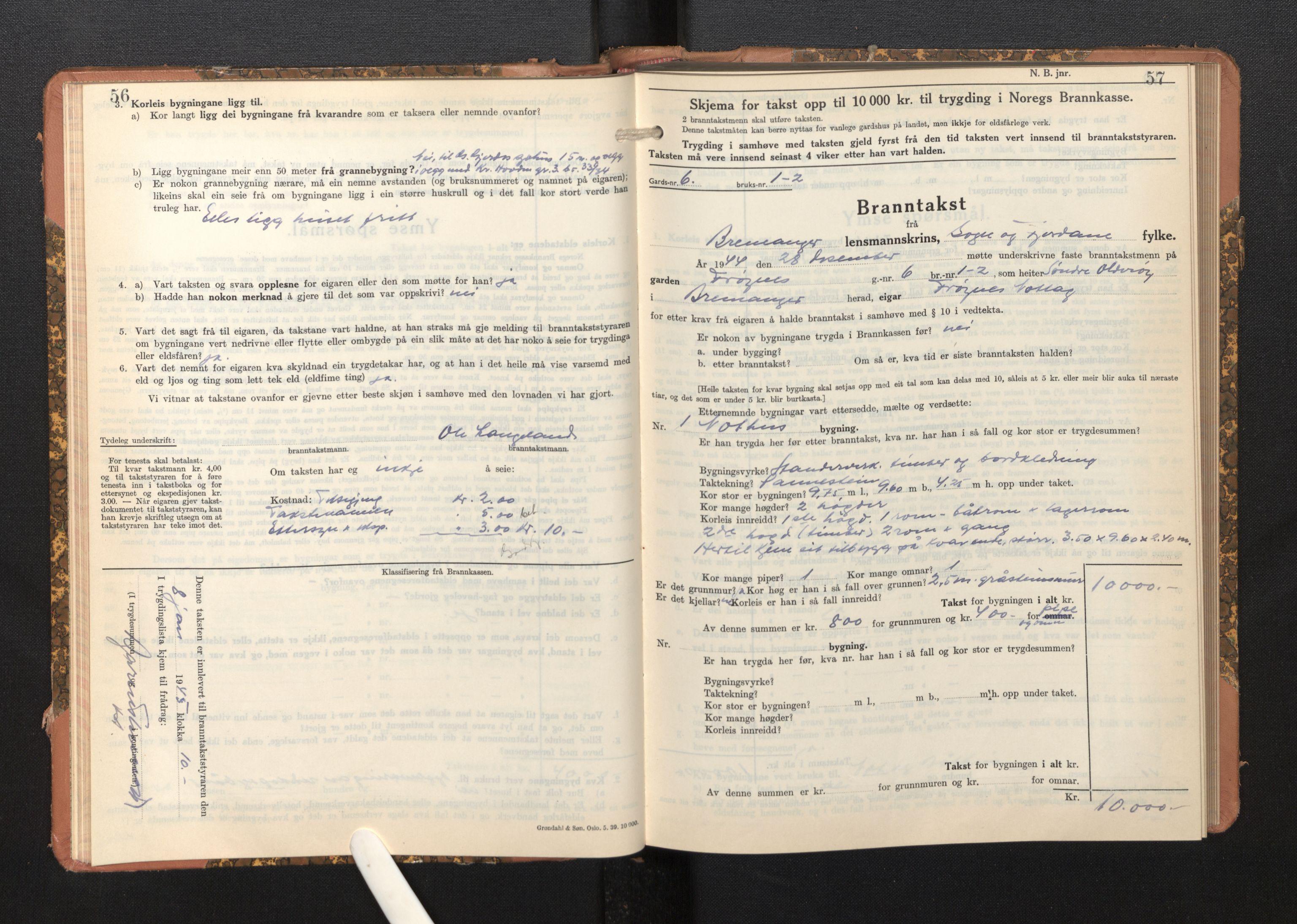 SAB, Lensmannen i Bremanger, 0012/L0009: Branntakstprotokoll, skjematakst, 1943-1950, s. 56-57