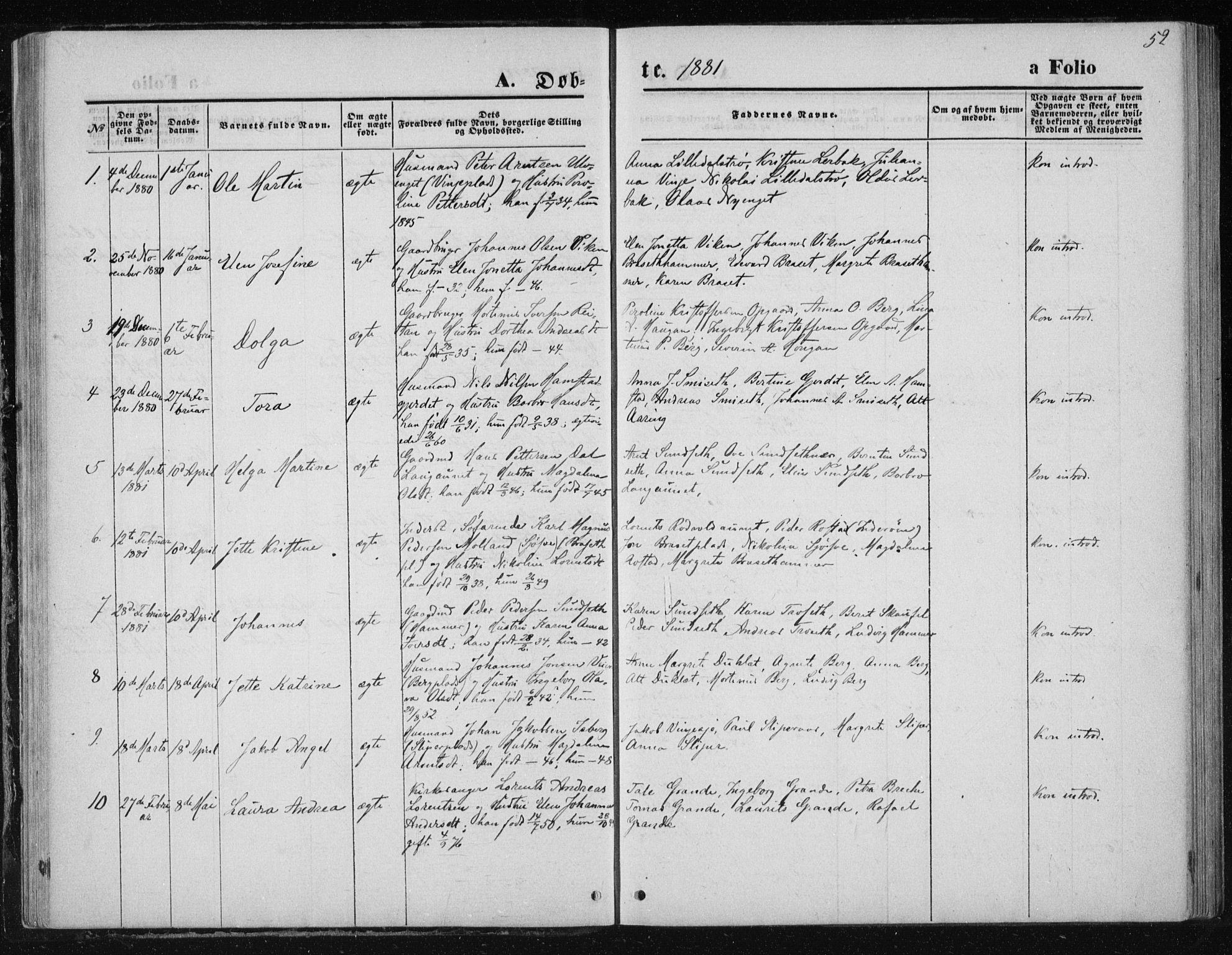 SAT, Ministerialprotokoller, klokkerbøker og fødselsregistre - Nord-Trøndelag, 733/L0324: Ministerialbok nr. 733A03, 1870-1883, s. 52