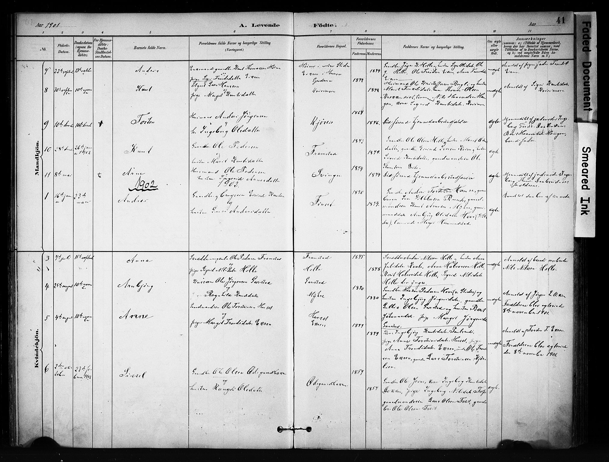 SAH, Vang prestekontor, Valdres, Ministerialbok nr. 9, 1882-1914, s. 41
