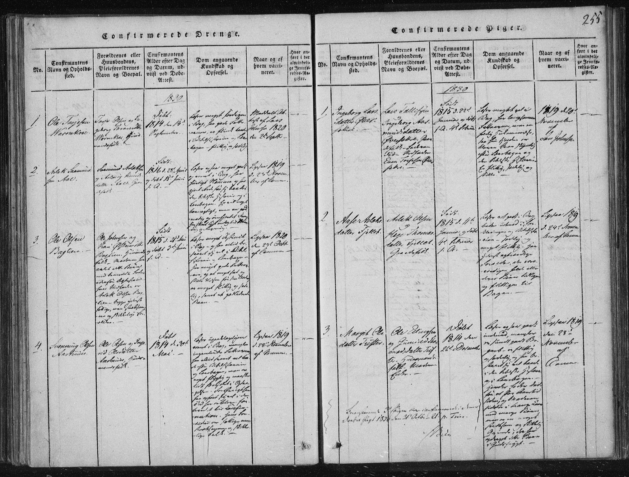 SAKO, Lårdal kirkebøker, F/Fc/L0001: Ministerialbok nr. III 1, 1815-1860, s. 255