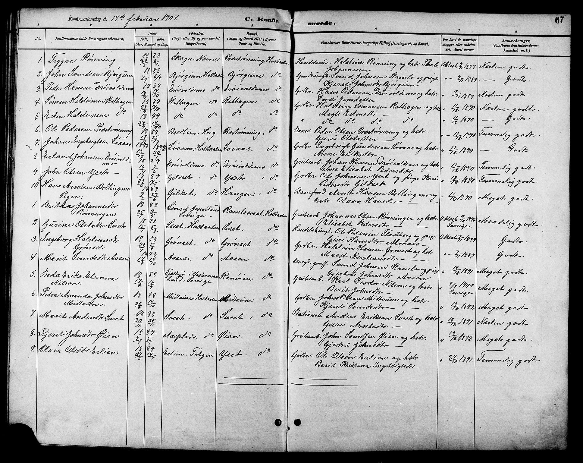 SAT, Ministerialprotokoller, klokkerbøker og fødselsregistre - Sør-Trøndelag, 685/L0978: Klokkerbok nr. 685C03, 1891-1907, s. 67