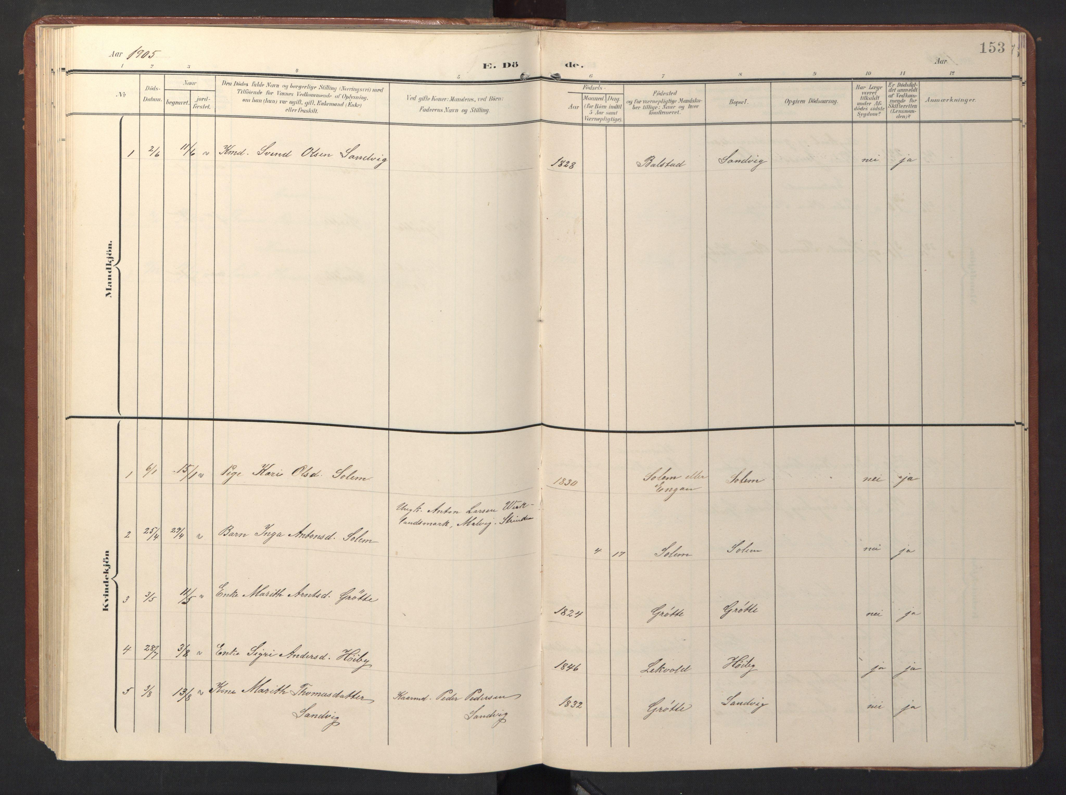 SAT, Ministerialprotokoller, klokkerbøker og fødselsregistre - Sør-Trøndelag, 696/L1161: Klokkerbok nr. 696C01, 1902-1950, s. 153